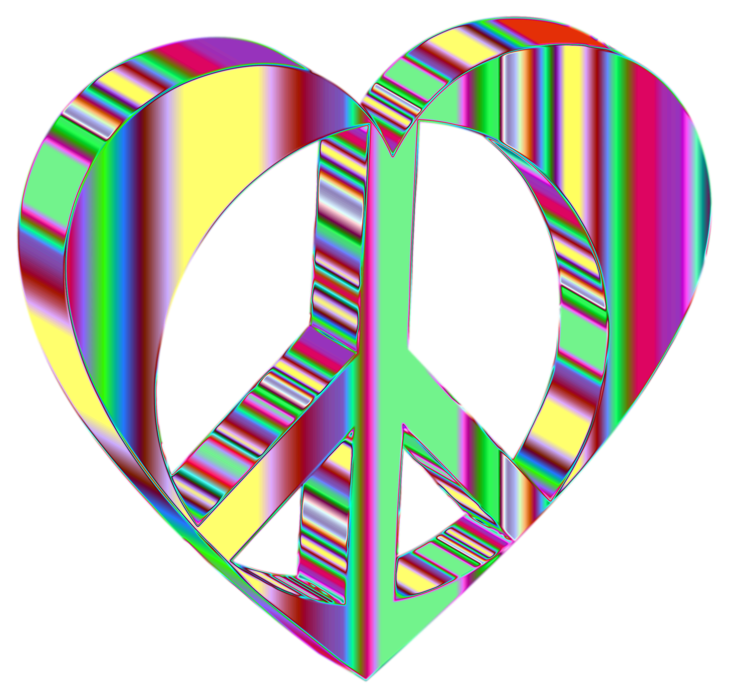 3D Peace Heart Mark II Psychedelic No Background by GDJ