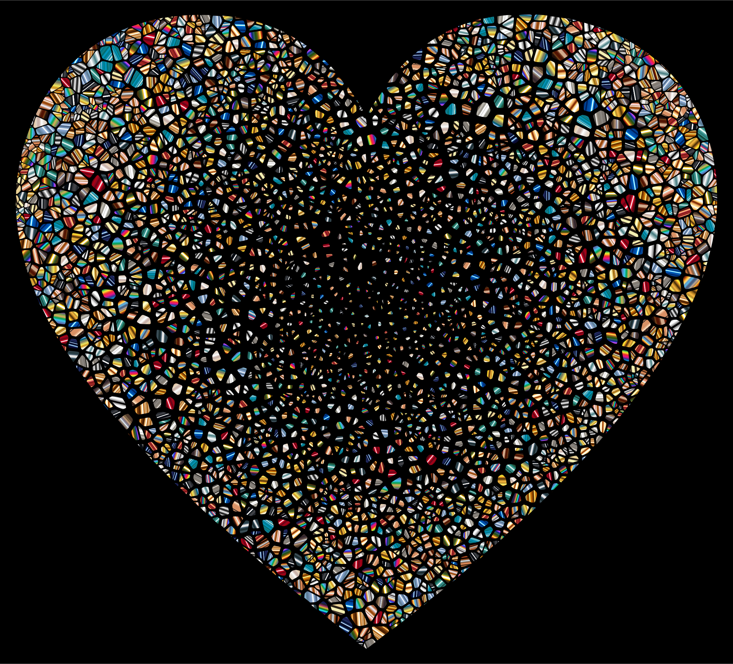 Psychedelic Shattered Tiled Heart by GDJ