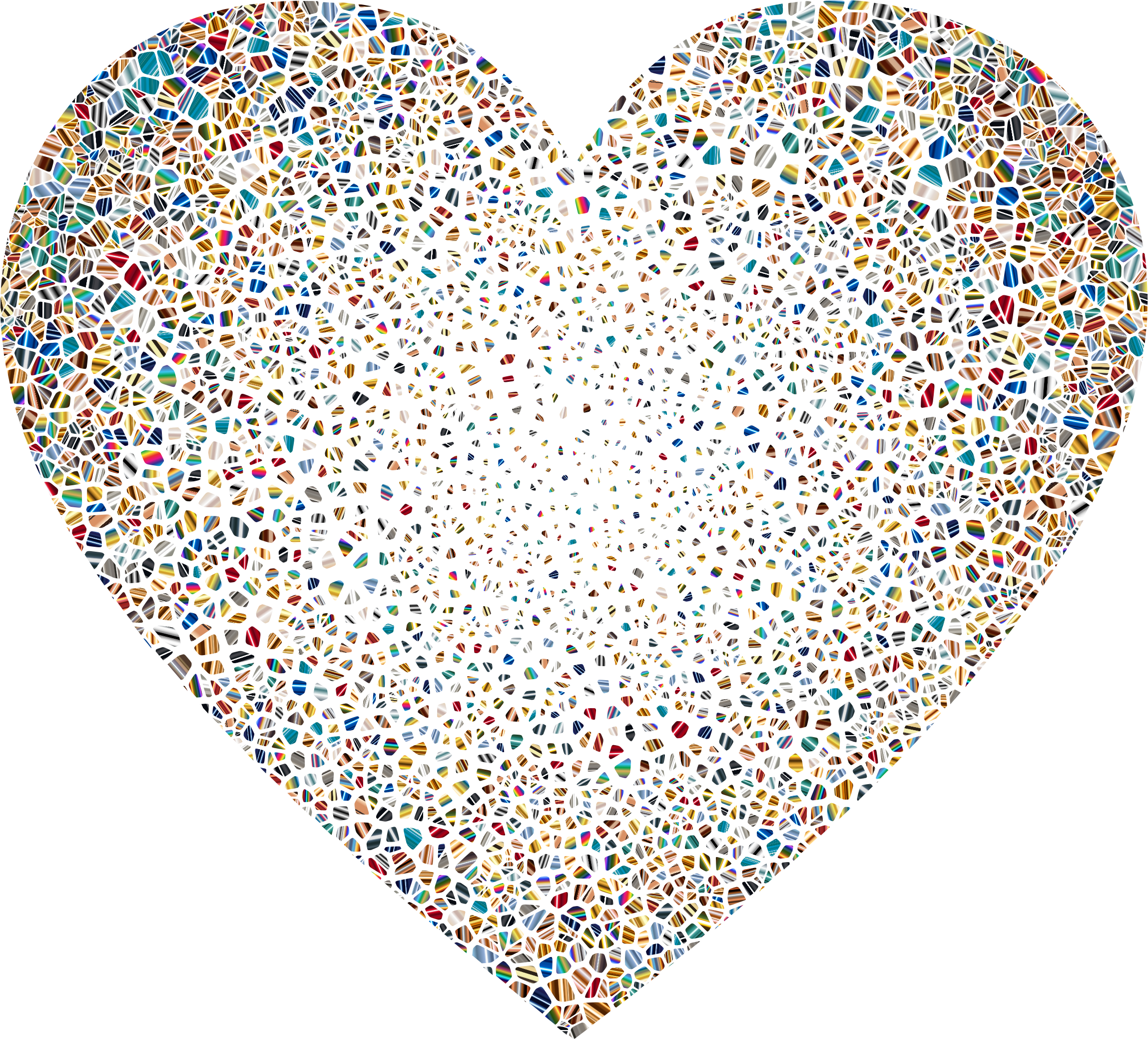 Psychedelic Shattered Tiled Heart No Background by GDJ