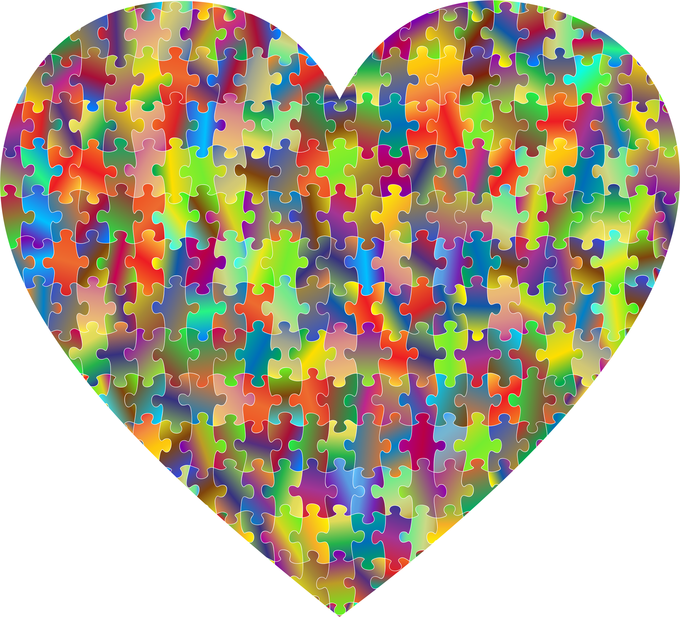 Clipart - Colorful Puzzle Heart 7