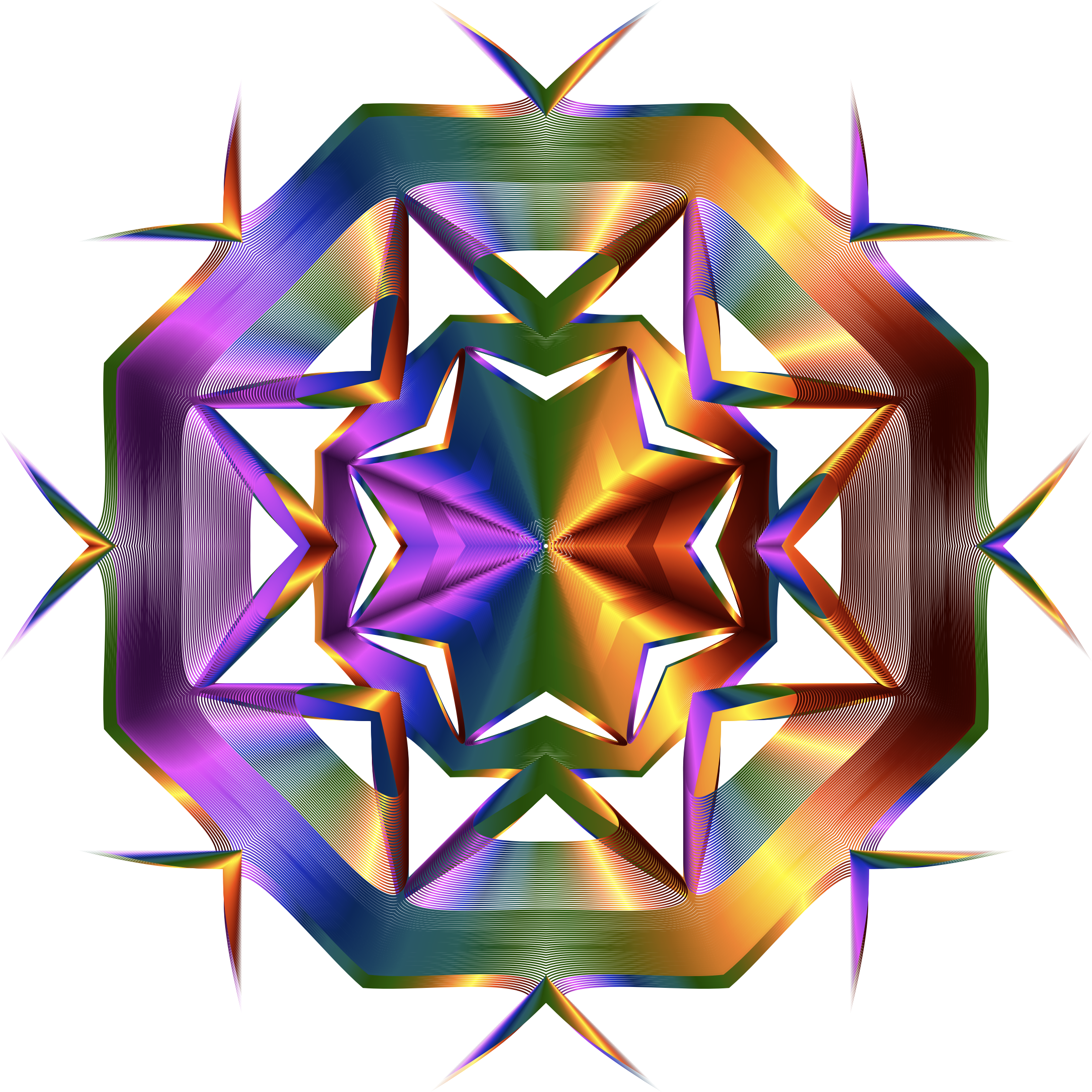 Prismatic Star Line Art 5 Variation 3 No Background by GDJ