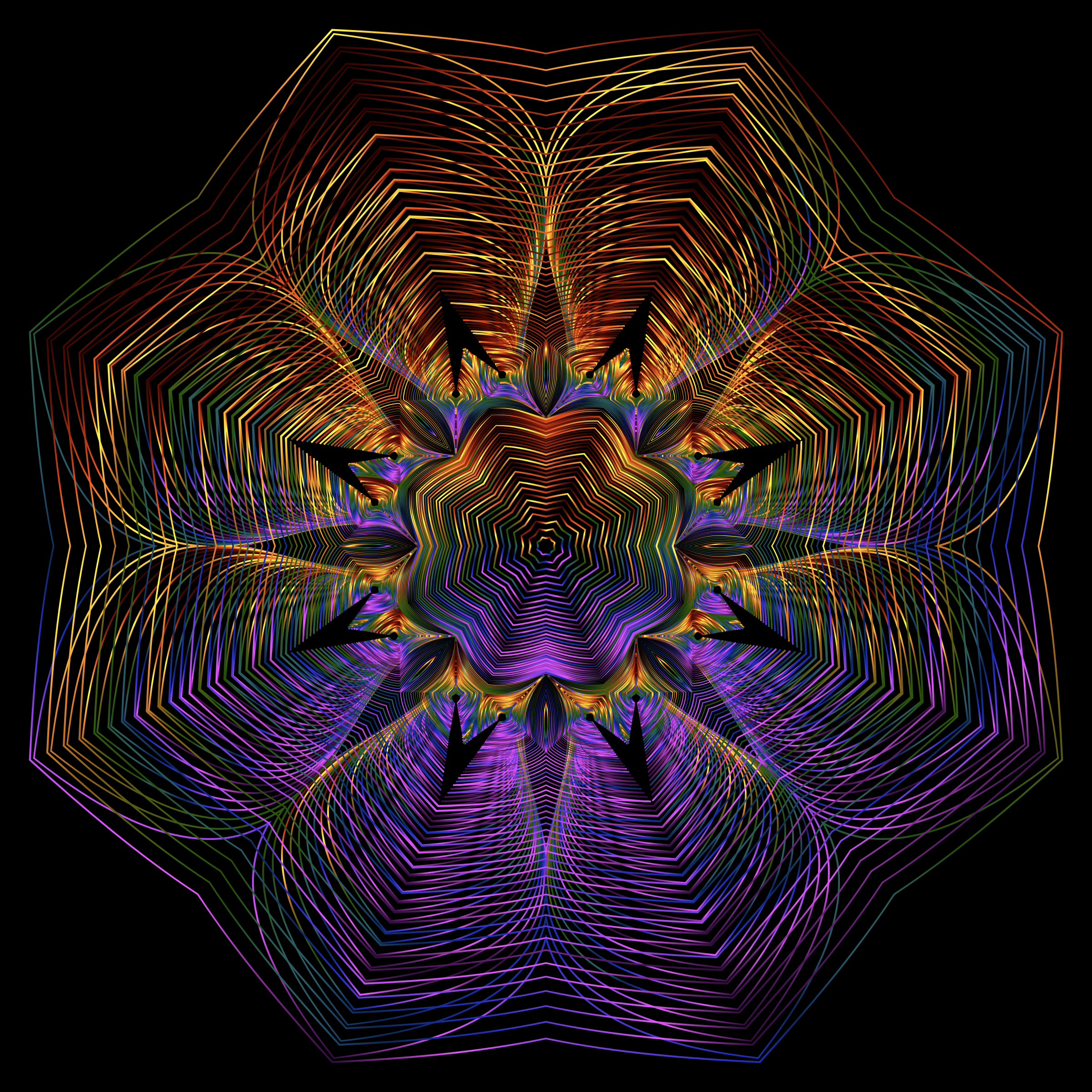 Prismatic Floral Line Art 2 by GDJ