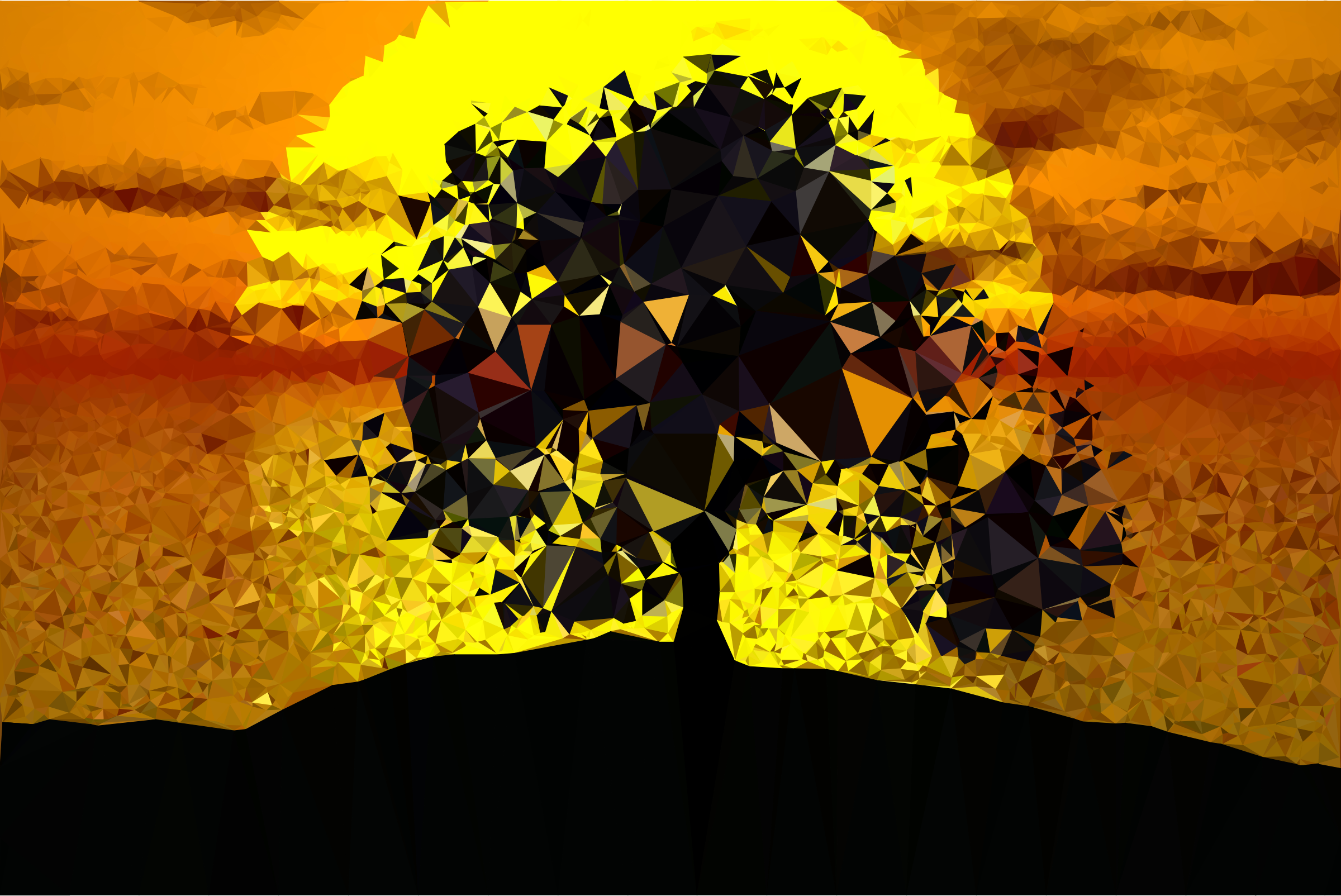 Low Poly Tree Silhouette Sunset by GDJ