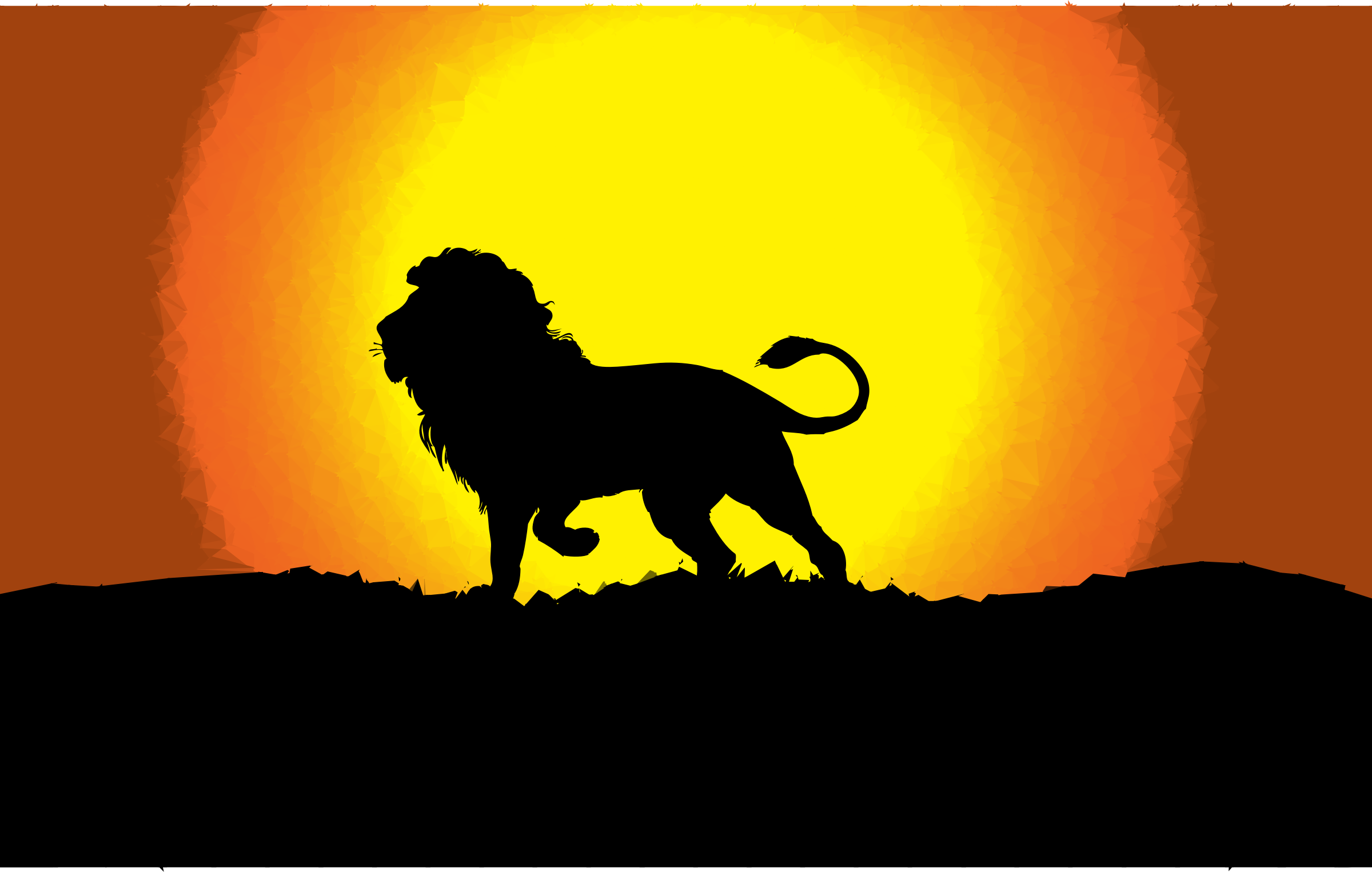 Low Poly Dusk Lion Silhouette by GDJ