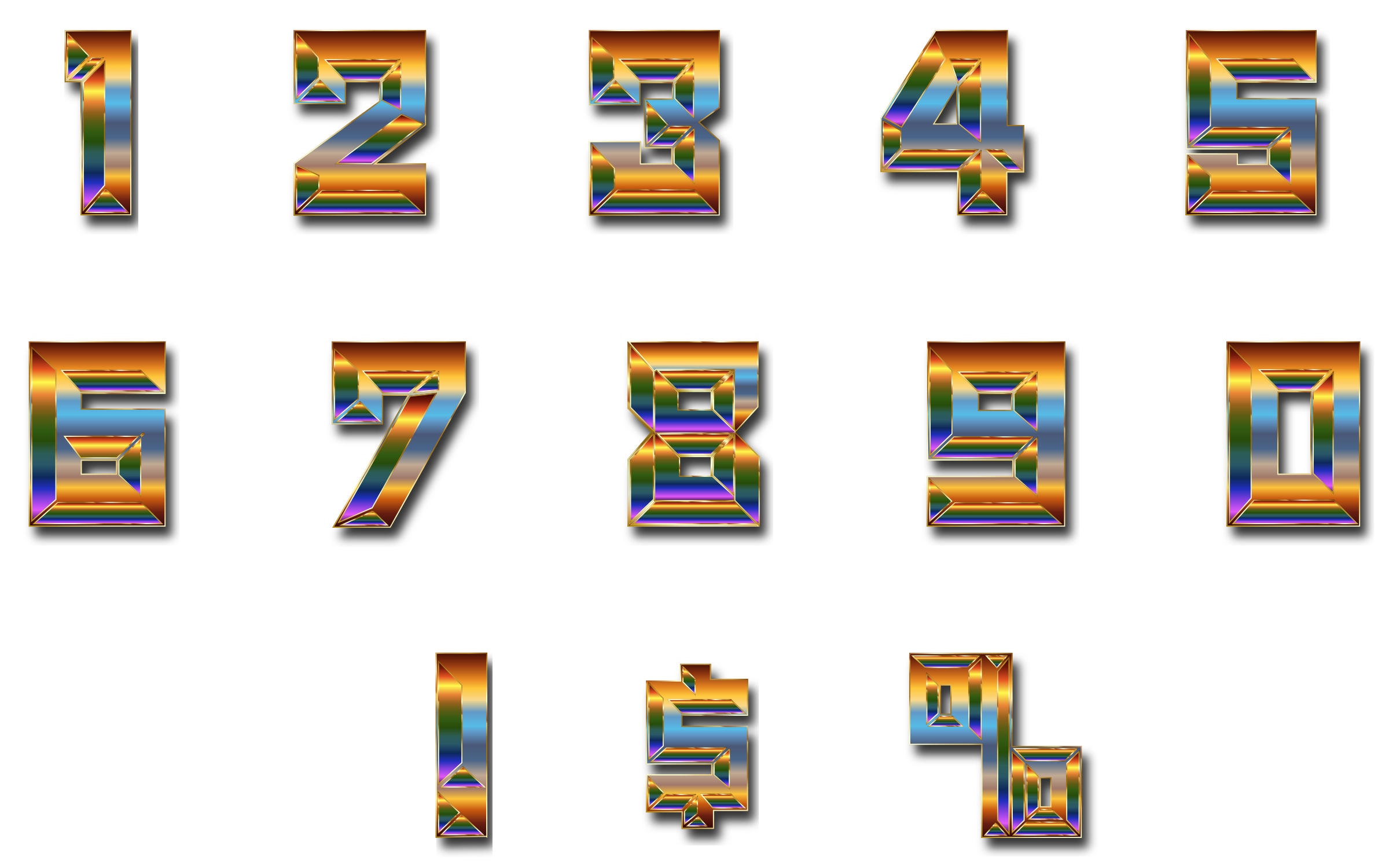 Chromatic Numbers Set With Drop Shadow by GDJ