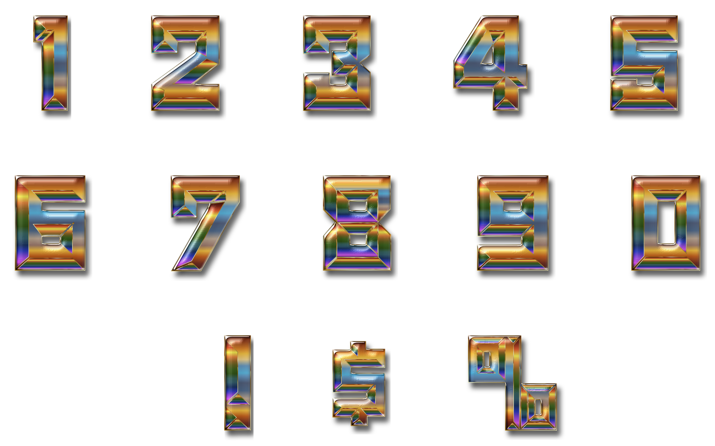 Chromatic Numbers Set Enhanced With Drop Shadow by GDJ