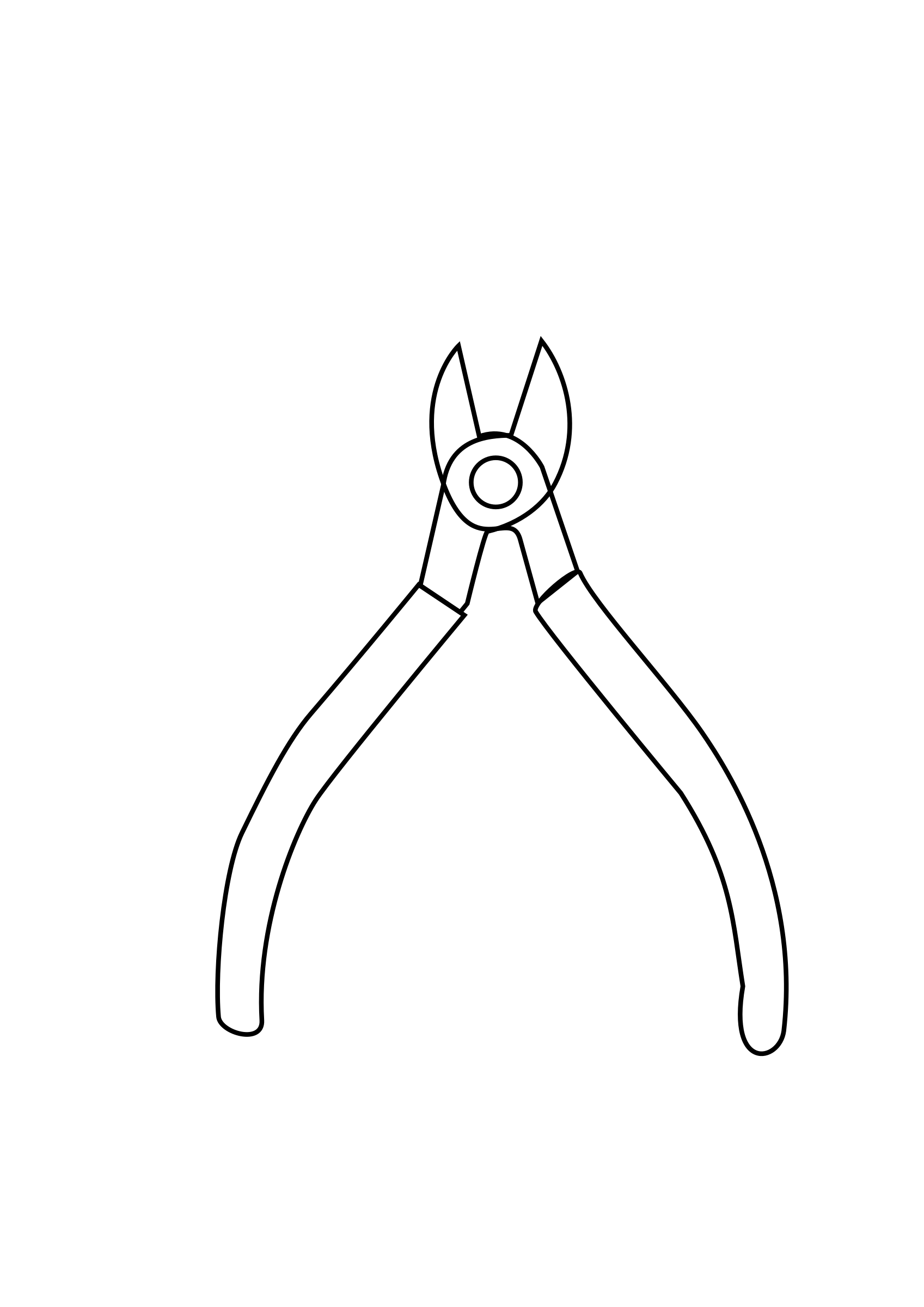 Clipart - Herramienta cortafrio corta cable dibujo para colorear