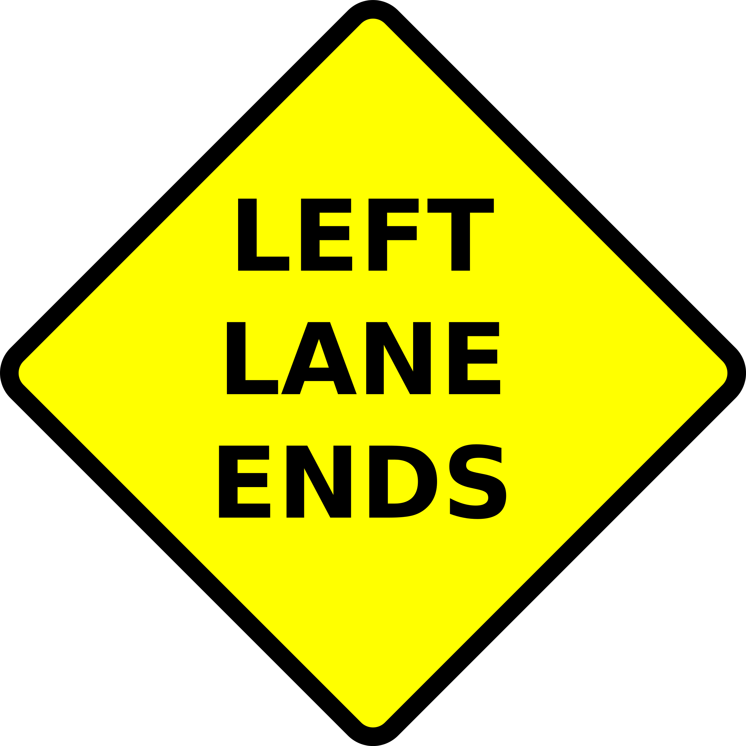 caution-lane ends-left by algotruneman