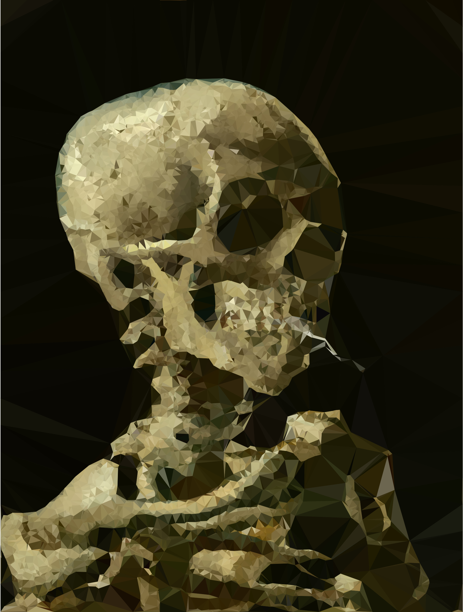 Low Poly Skeleton With Burning Cigarette Vincent Van Gogh by GDJ
