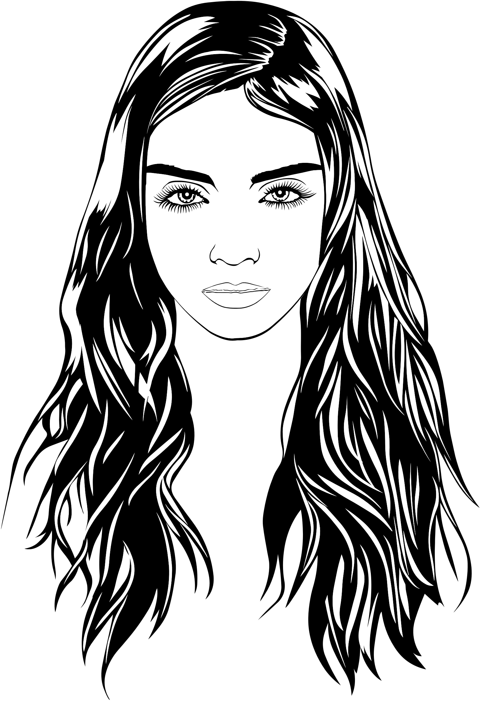 Woman With Cold Stare Line Art by GDJ