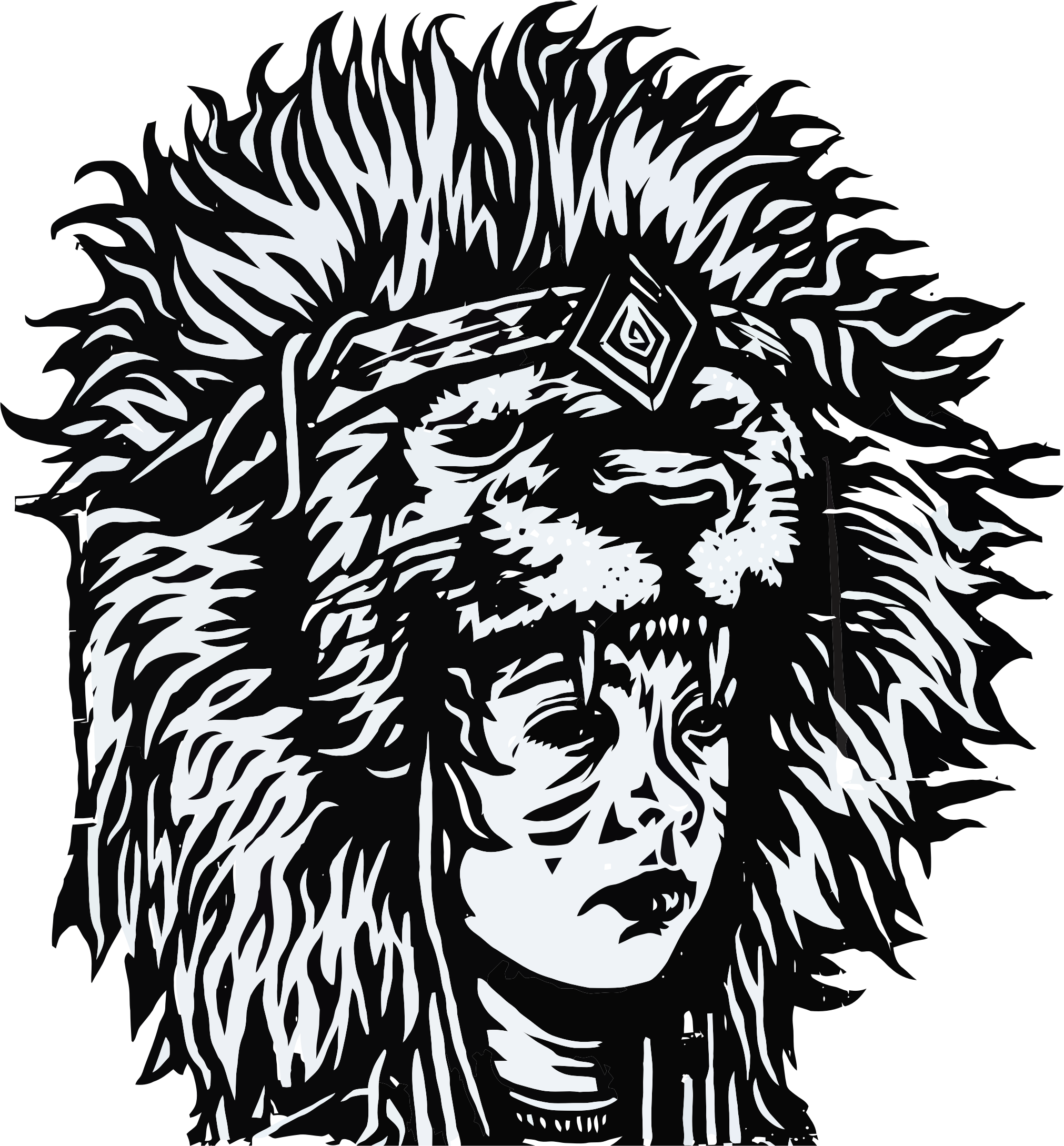 Tribal Head Dress Shaman Line Art by GDJ