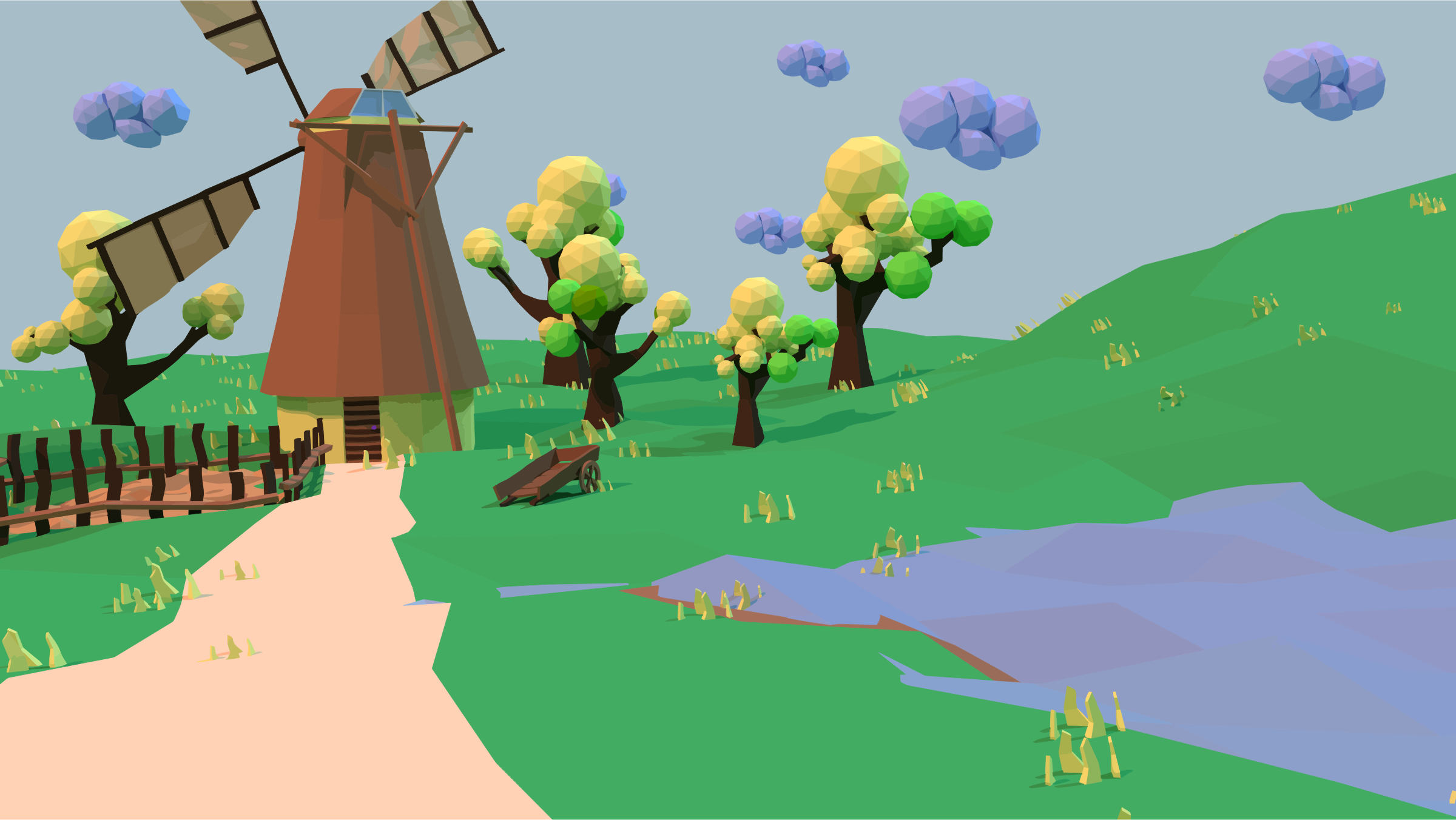 Spring 3D Low Poly Landscape by GDJ