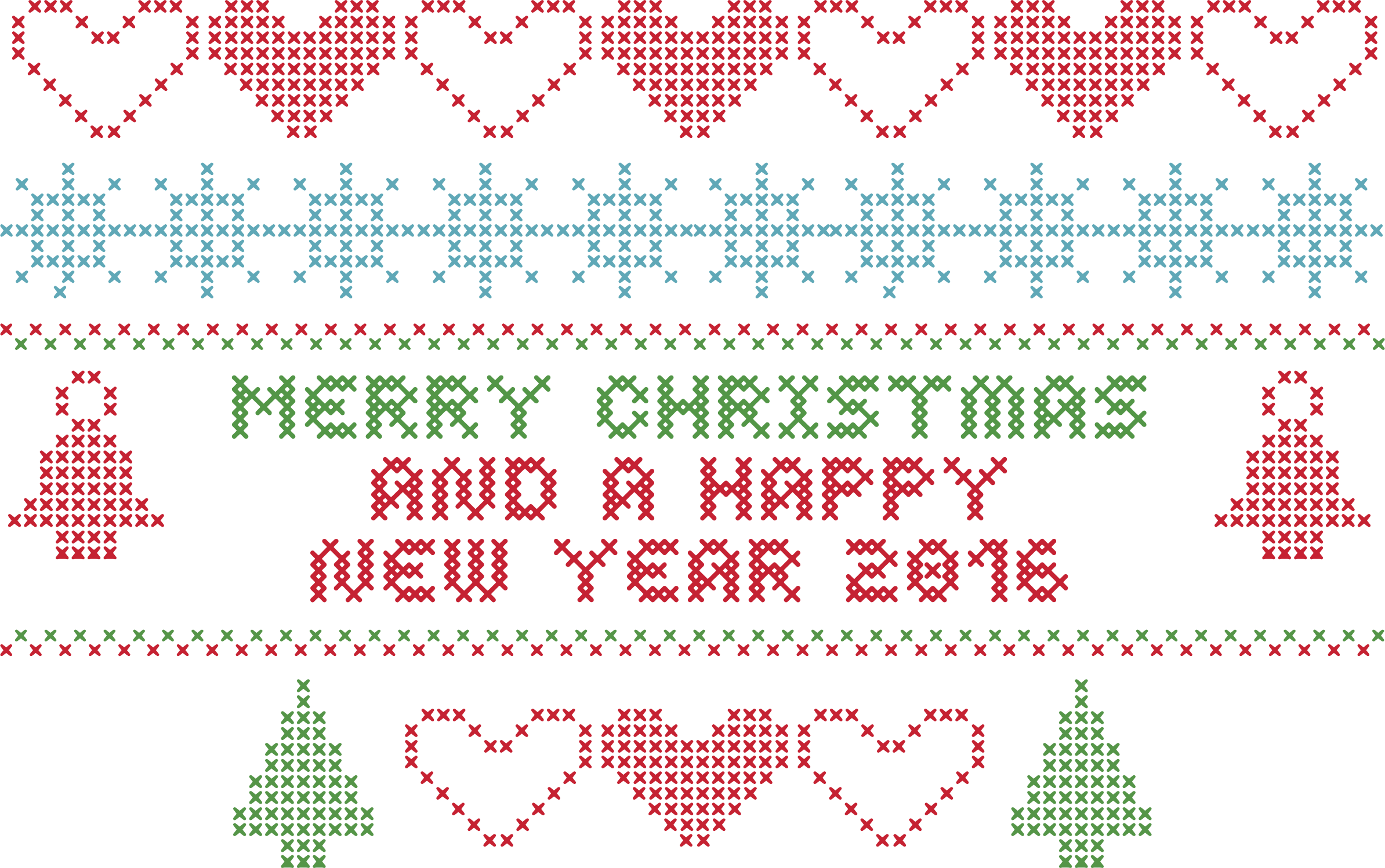 Merry Christmas Crochet Typography by GDJ