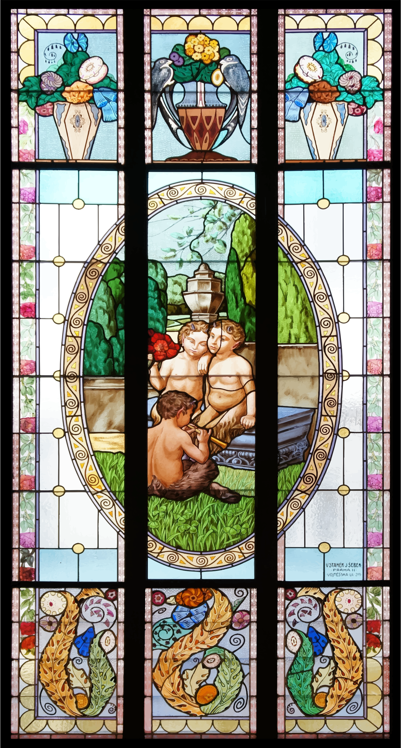 Greek Myth Stained Glass Window by GDJ