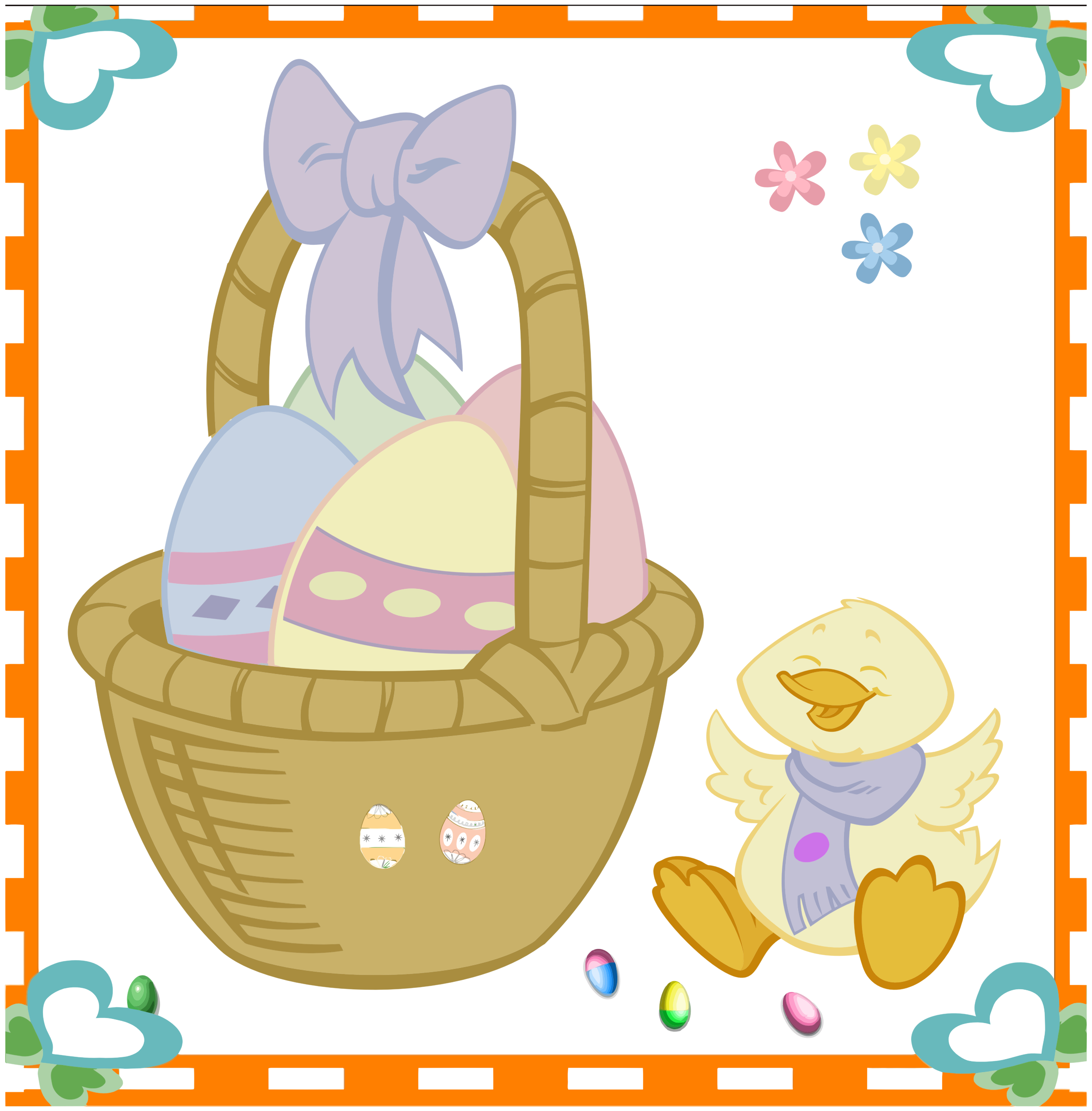 Easter Egg Basket And Duckling by GDJ