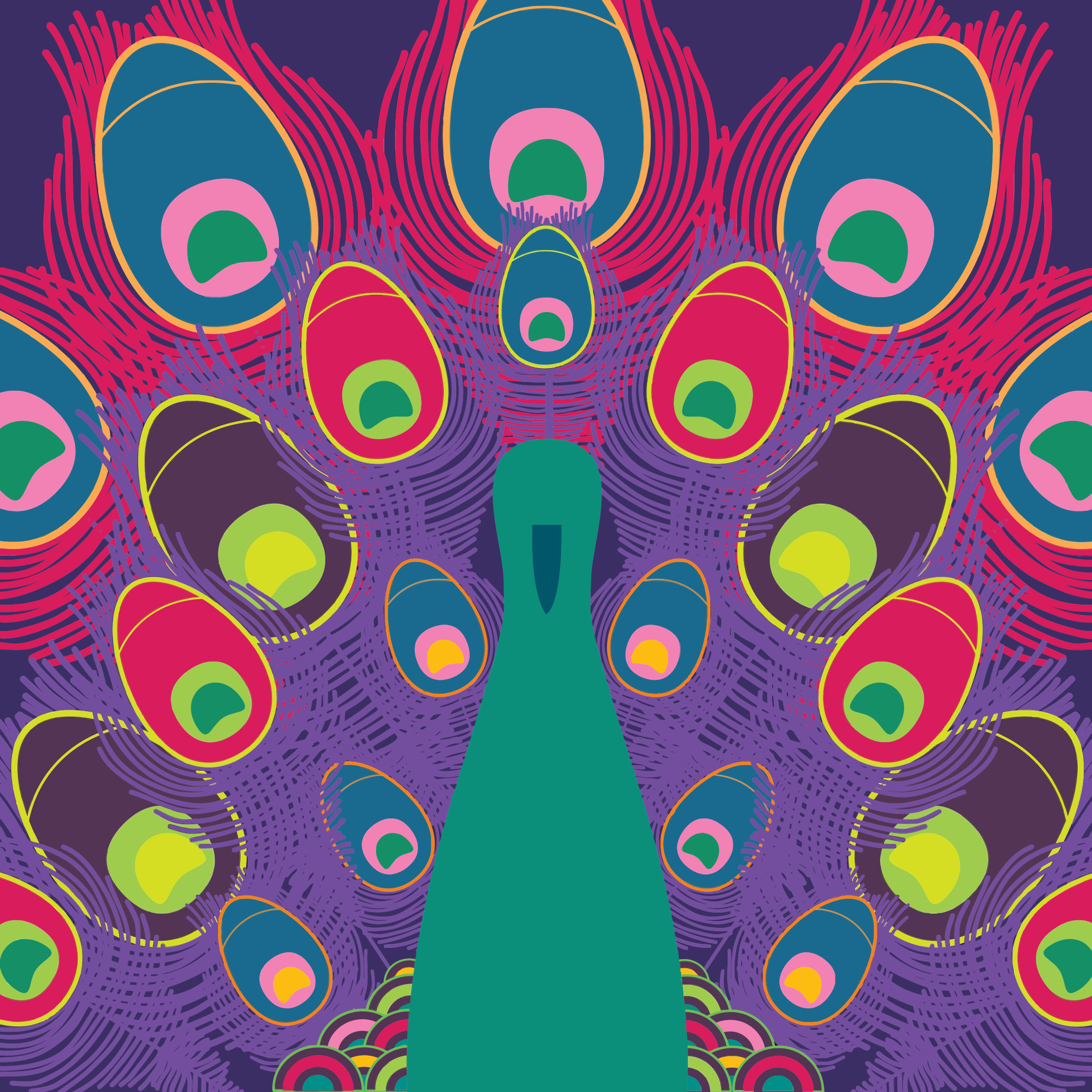 Colorful Peacock Line Art by GDJ