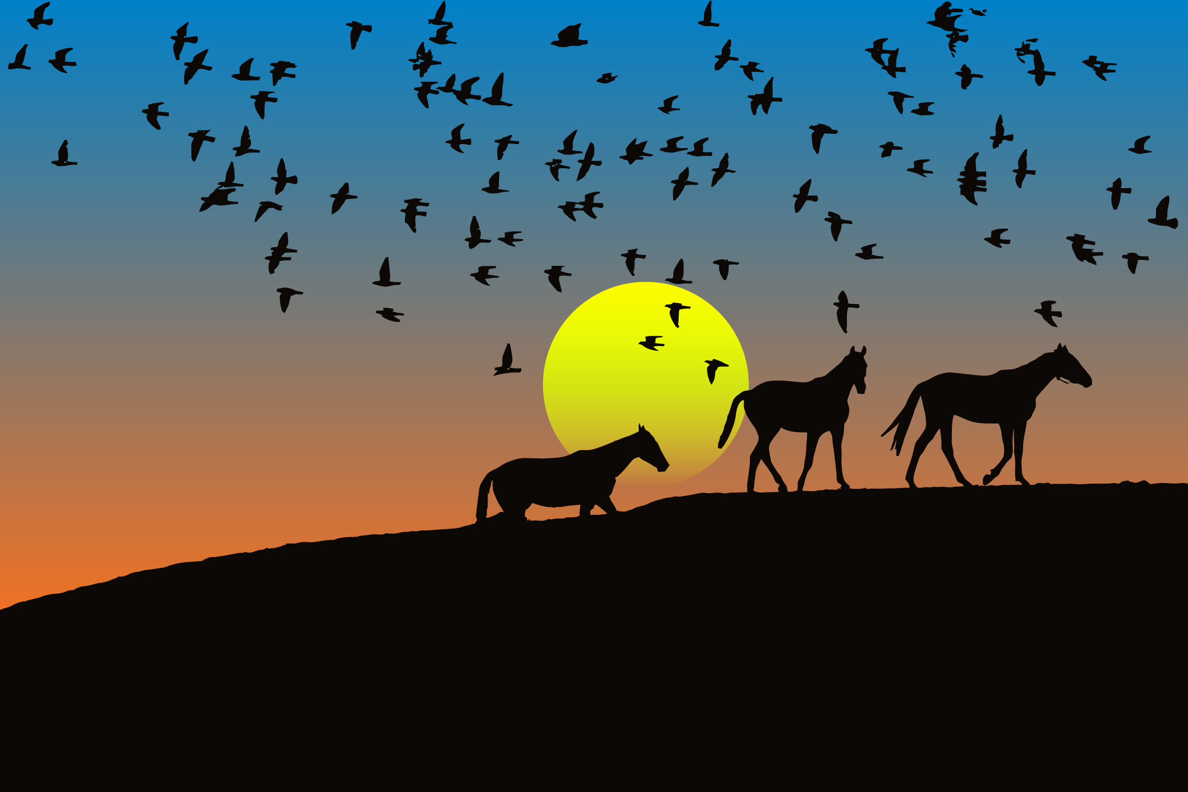 Birds And Horses Silhouette Sunset 4 by GDJ