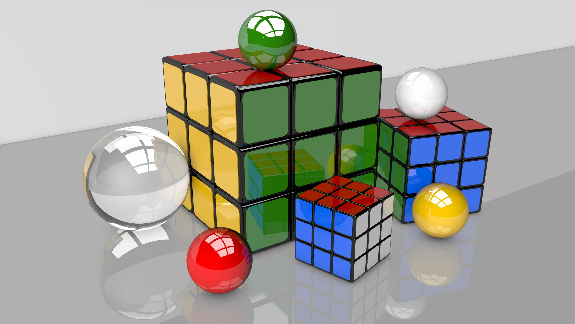 3D Rendered Puzzle Cubes And Spheres by GDJ