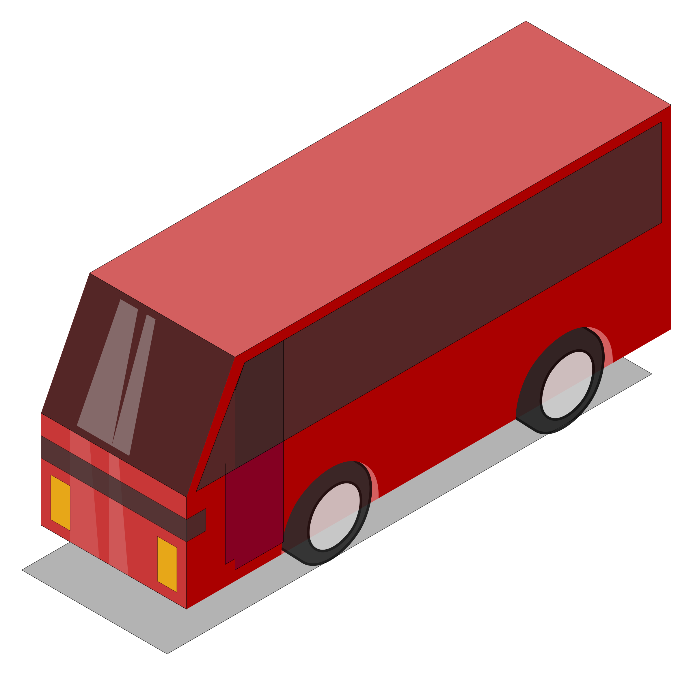 3D Isometric Red Bus by GDJ