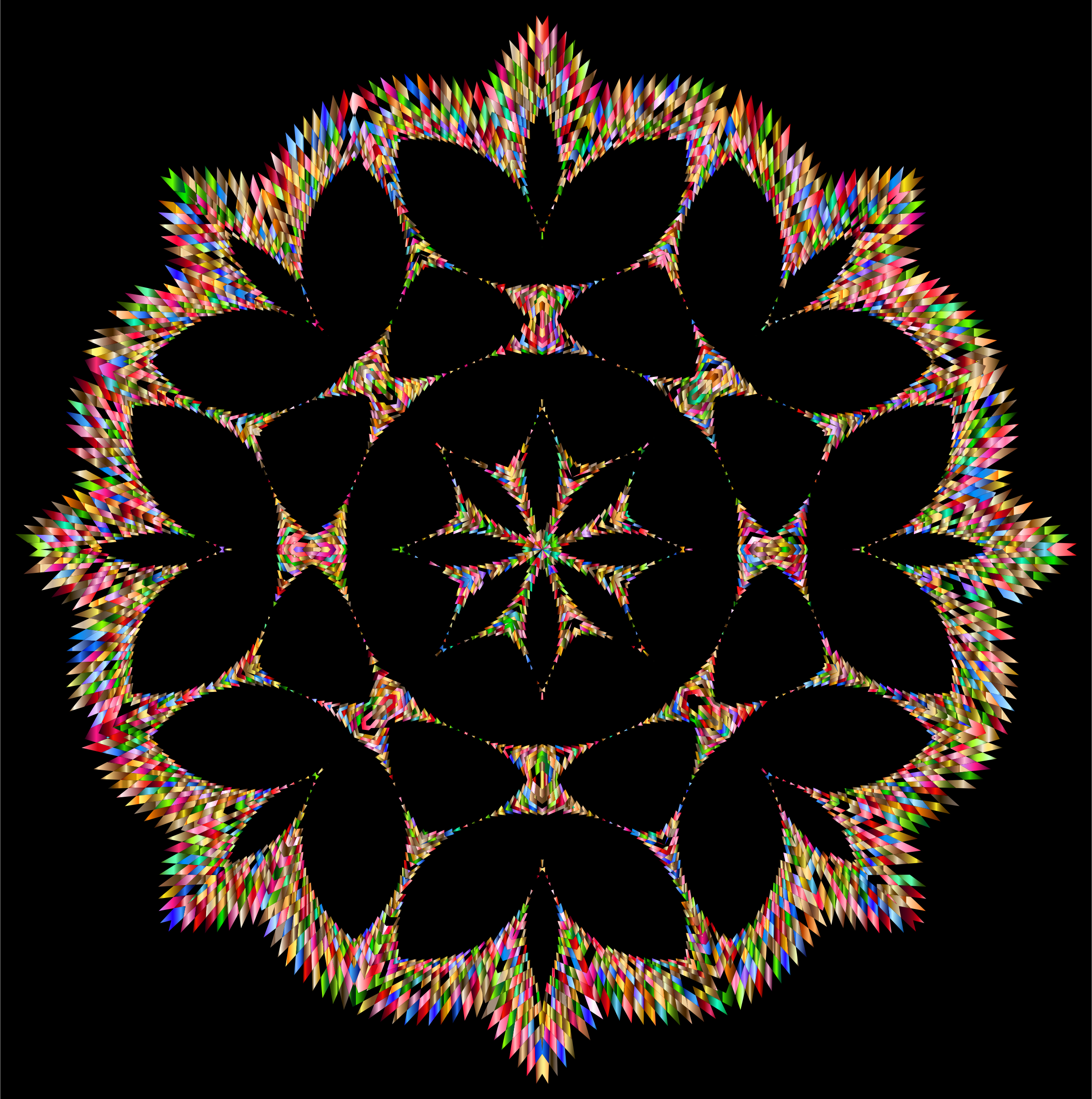 Clipart - Jagged Chromatic Snowflake