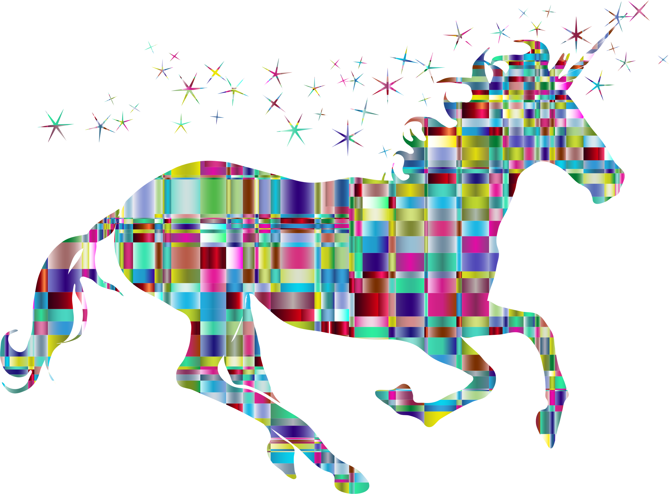 Chromatic Checkered Crystalline Magical Unicorn by GDJ