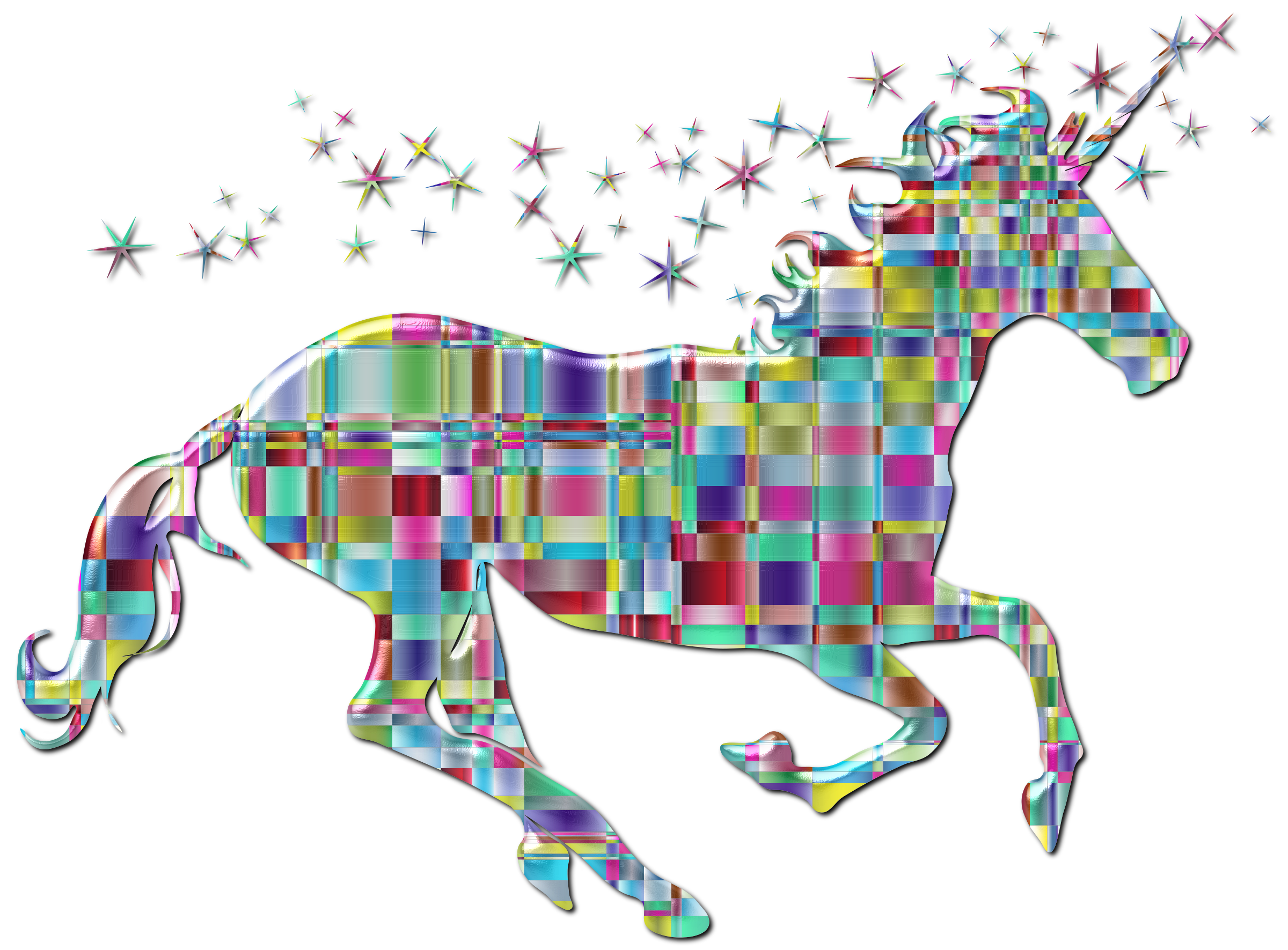 Chromatic Checkered Crystalline Magical Unicorn Enhanced by GDJ