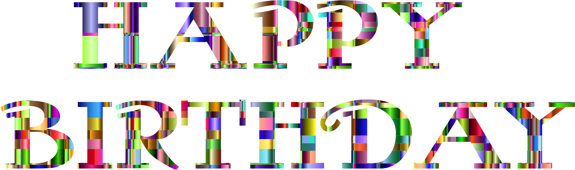 Checkered Chromatic Happy Birthday Typography by GDJ