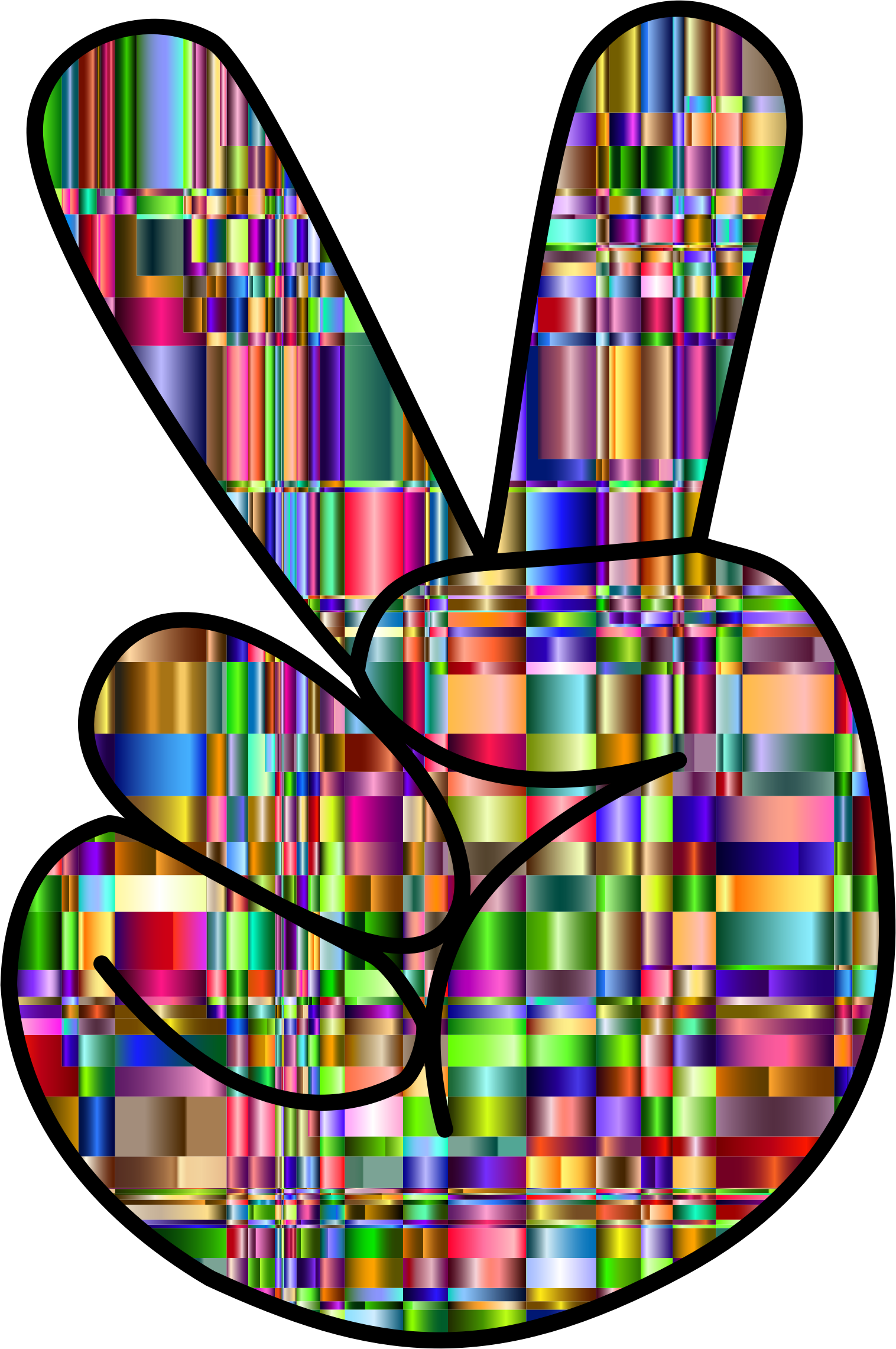 Checkered Chromatic Comic Hand Peace Sign by GDJ