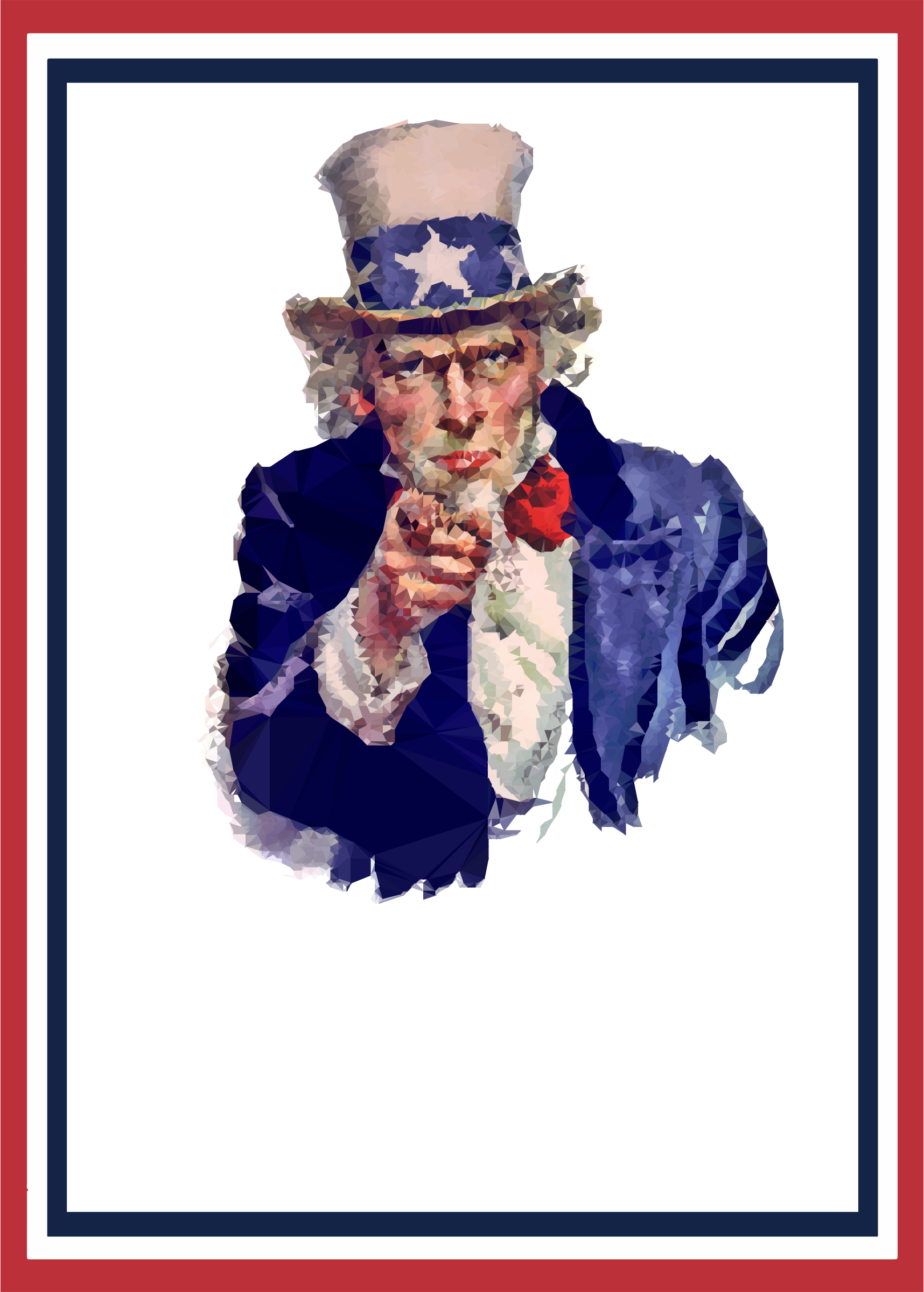 Low Poly Uncle Sam World War 2 Poster by GDJ