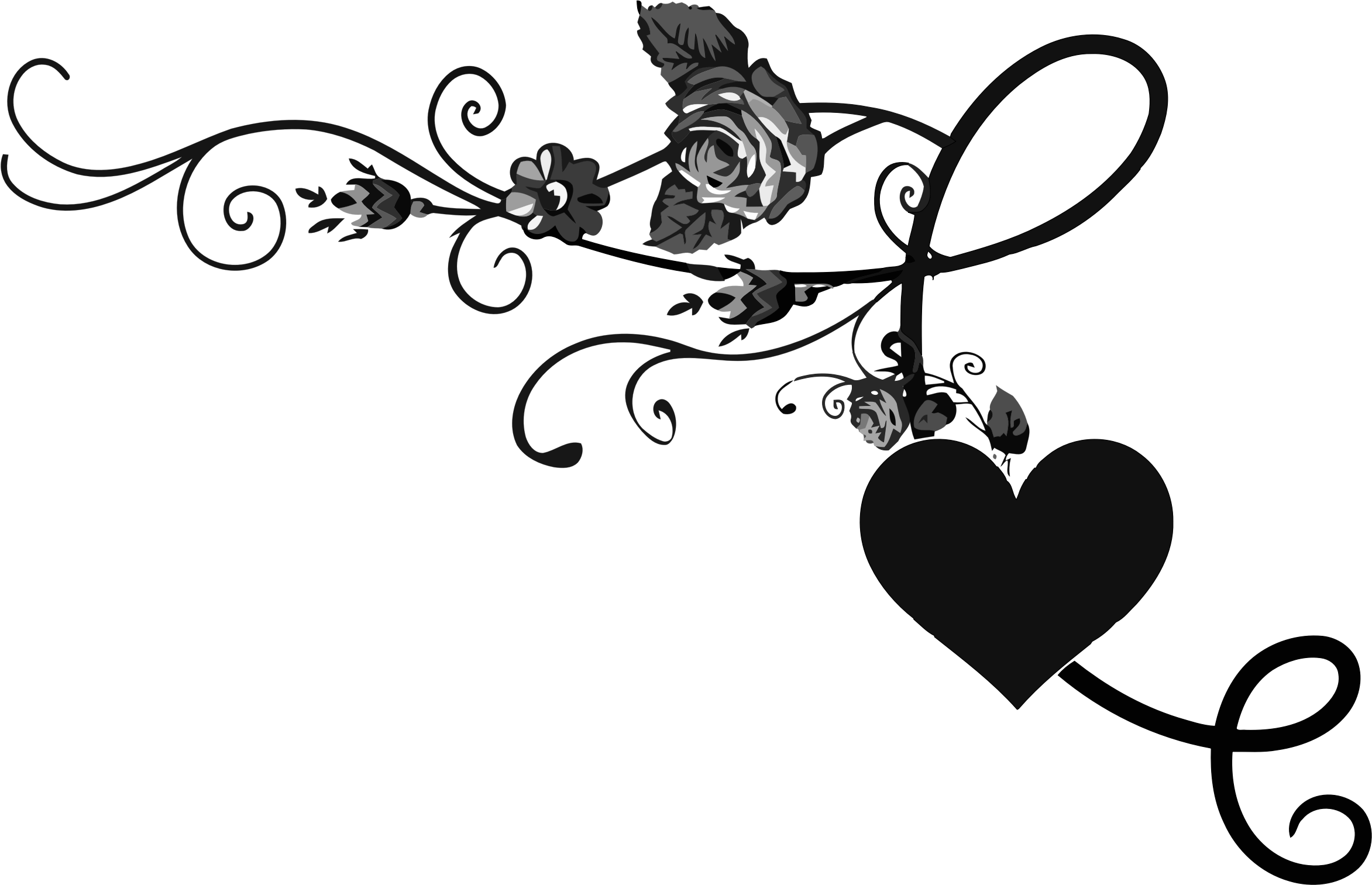 Clipart - Rose Floral Flourish 1
