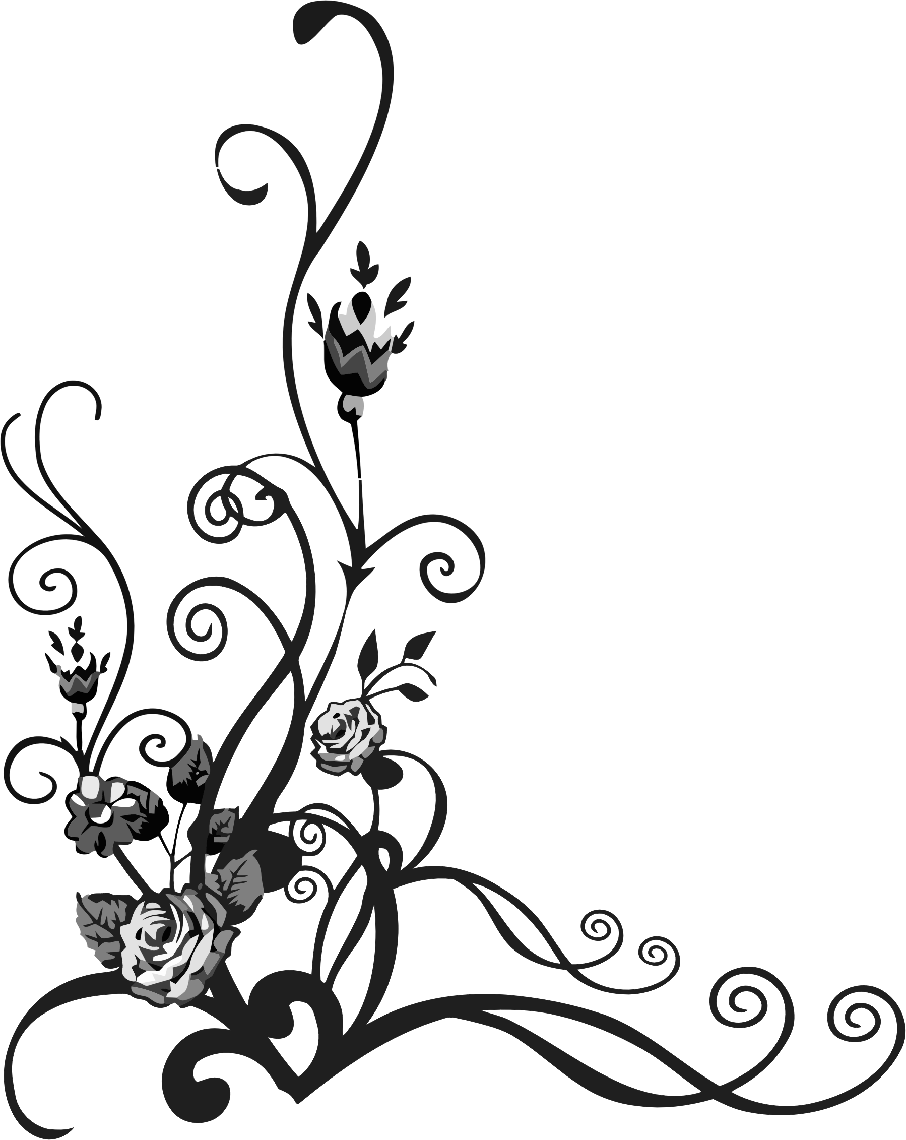 Clipart - Rose Floral Flourish 3