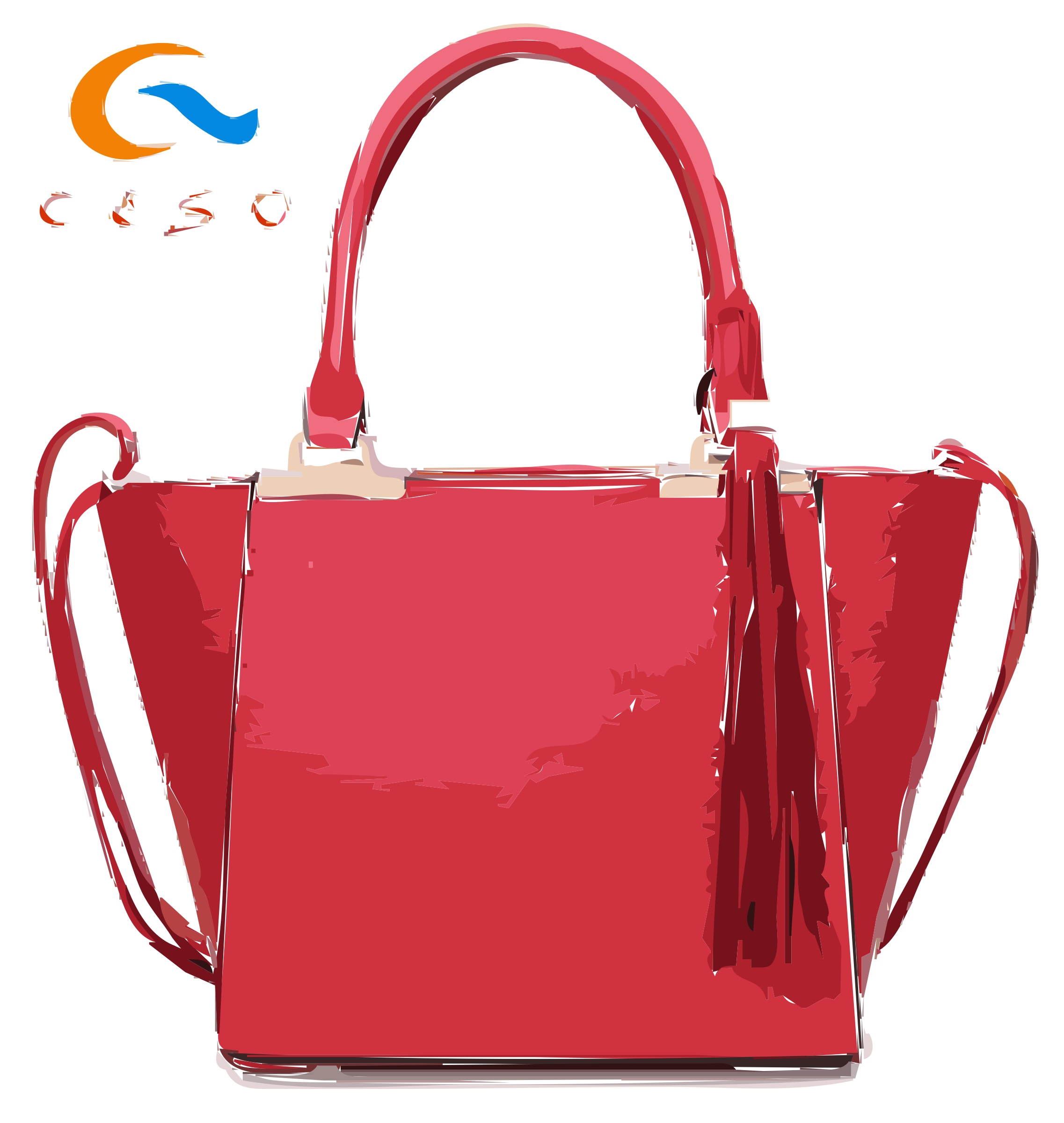 Pink Bag with Tassles and Logo by openclipart