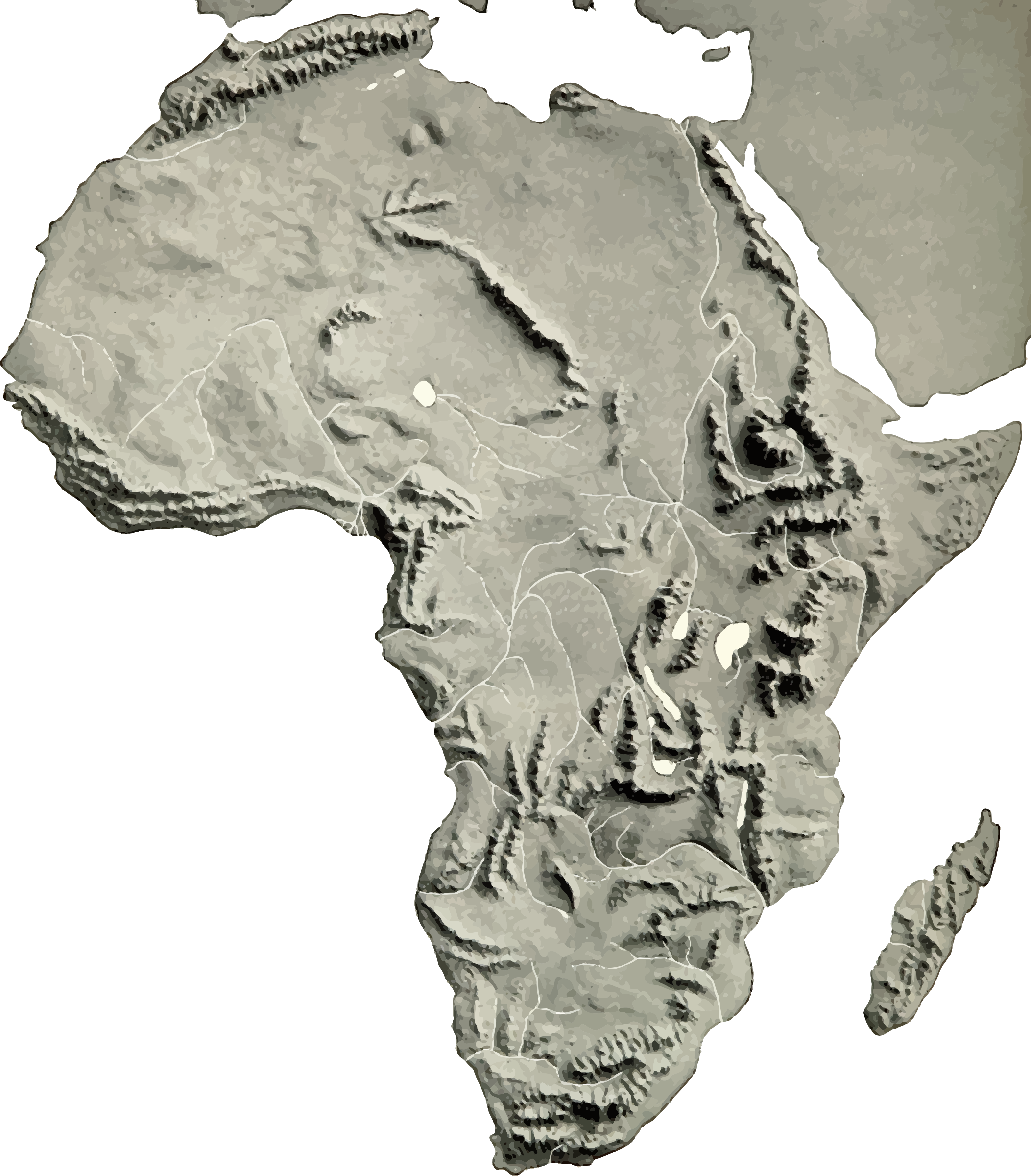 Clipart - Africa relief map 2