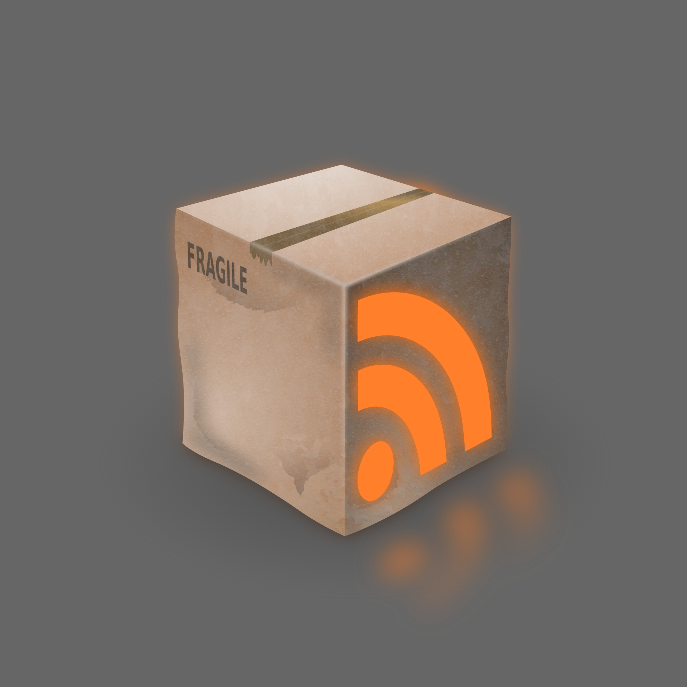 Grunge RSS Box Icon by Tomas Sobek