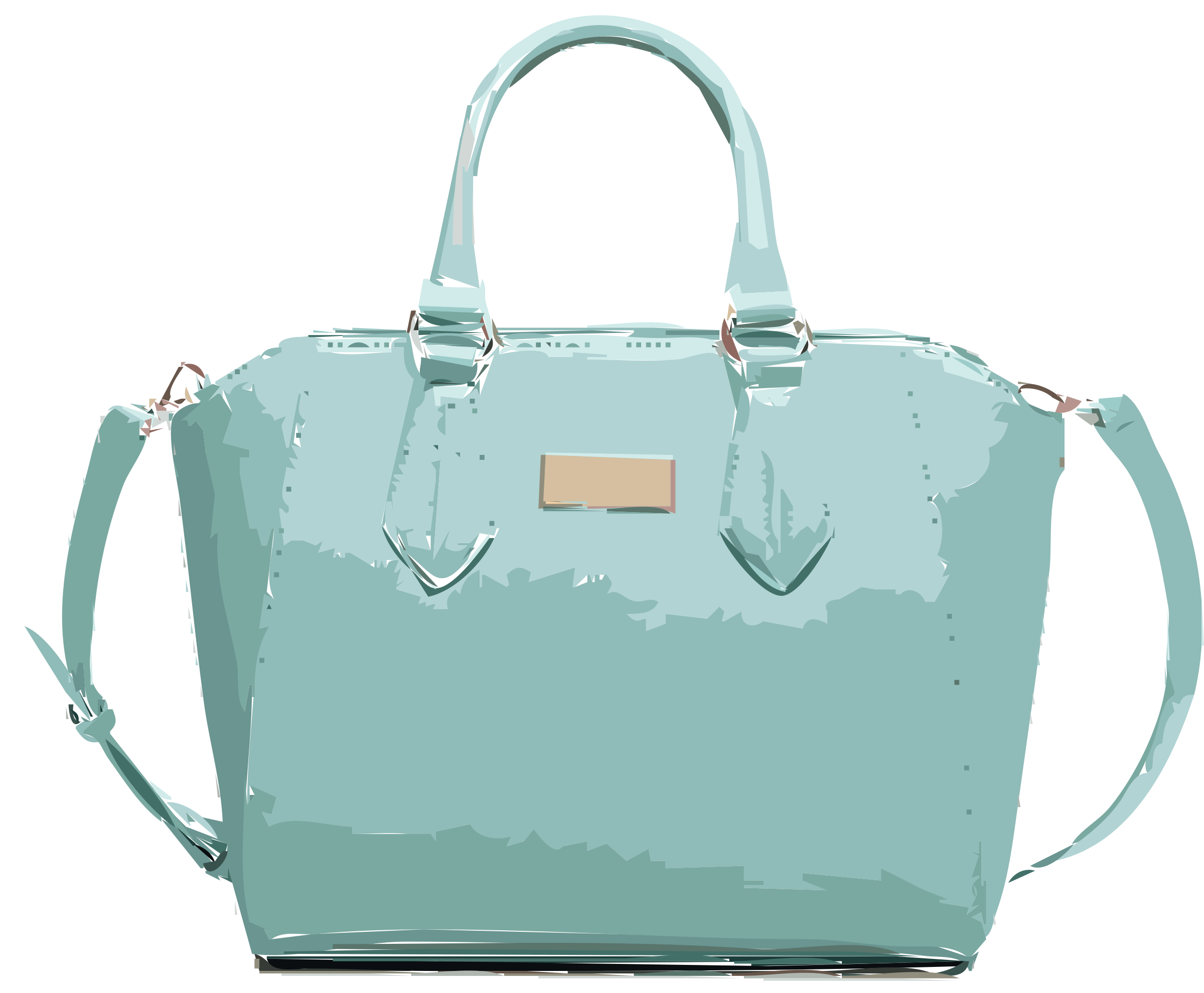Aqua Leather Handbag No Logo  by rejon