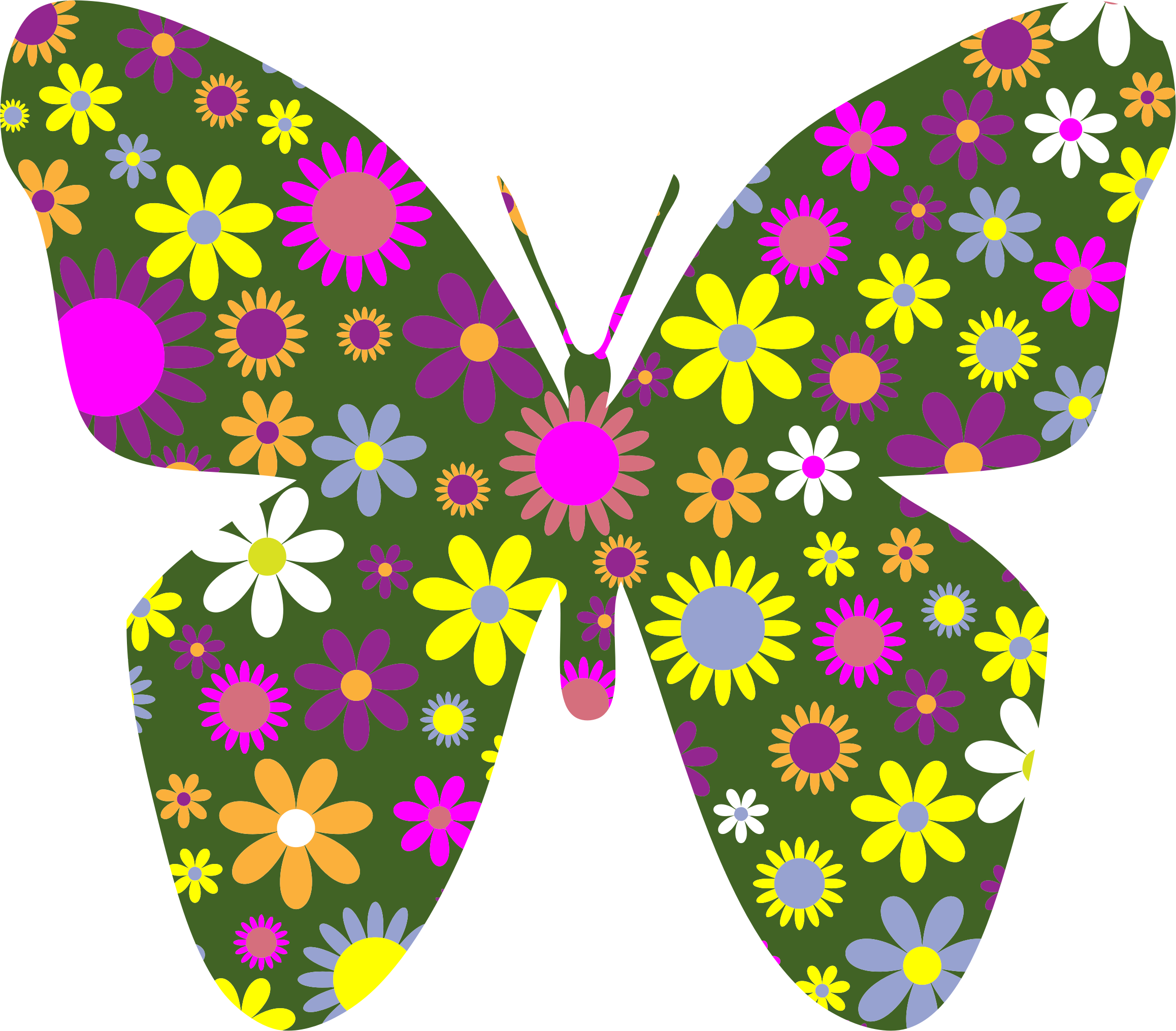 Retro Floral Butterfly 2 by GDJ