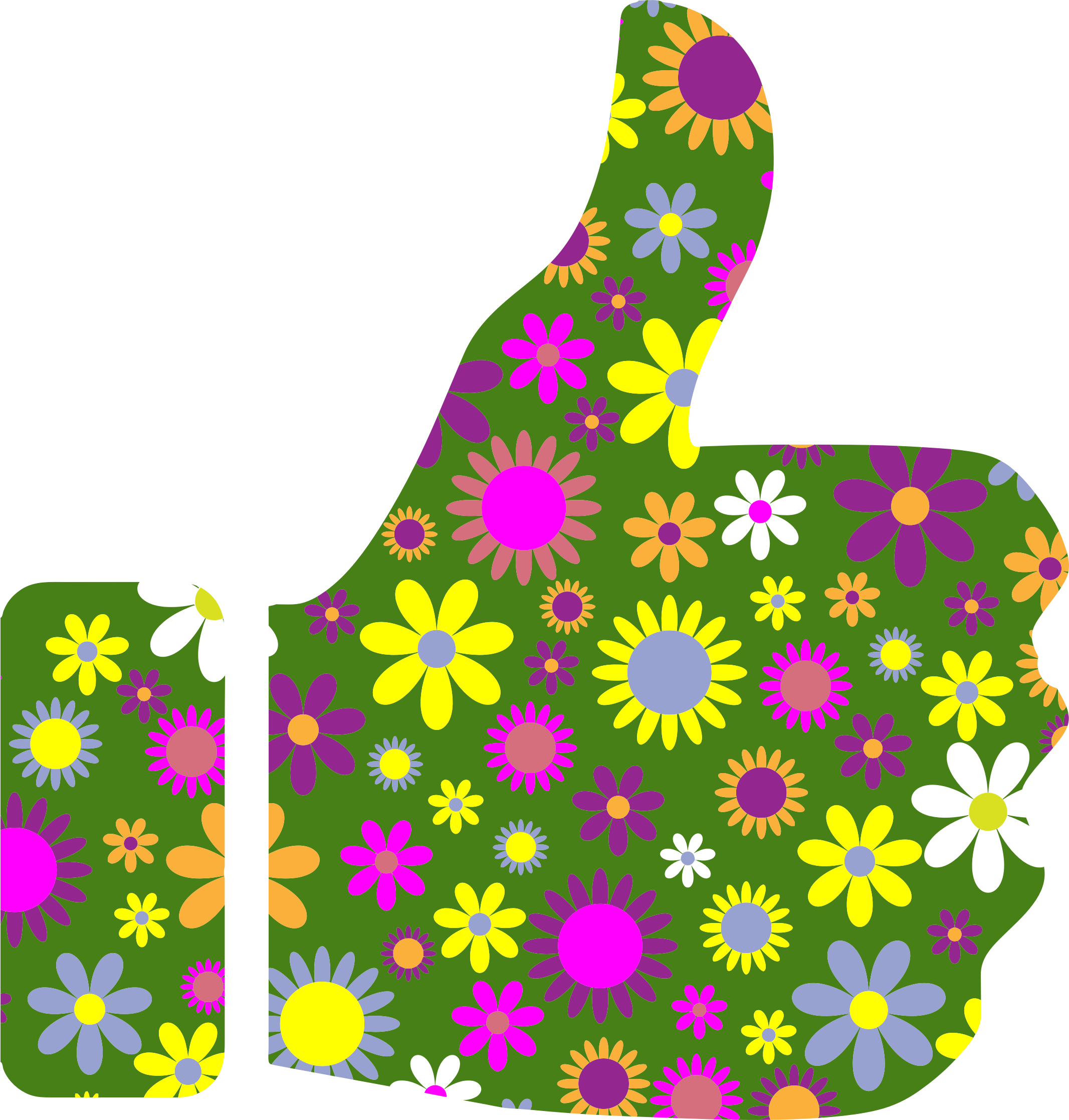 Retro Floral Thumbs Up by GDJ