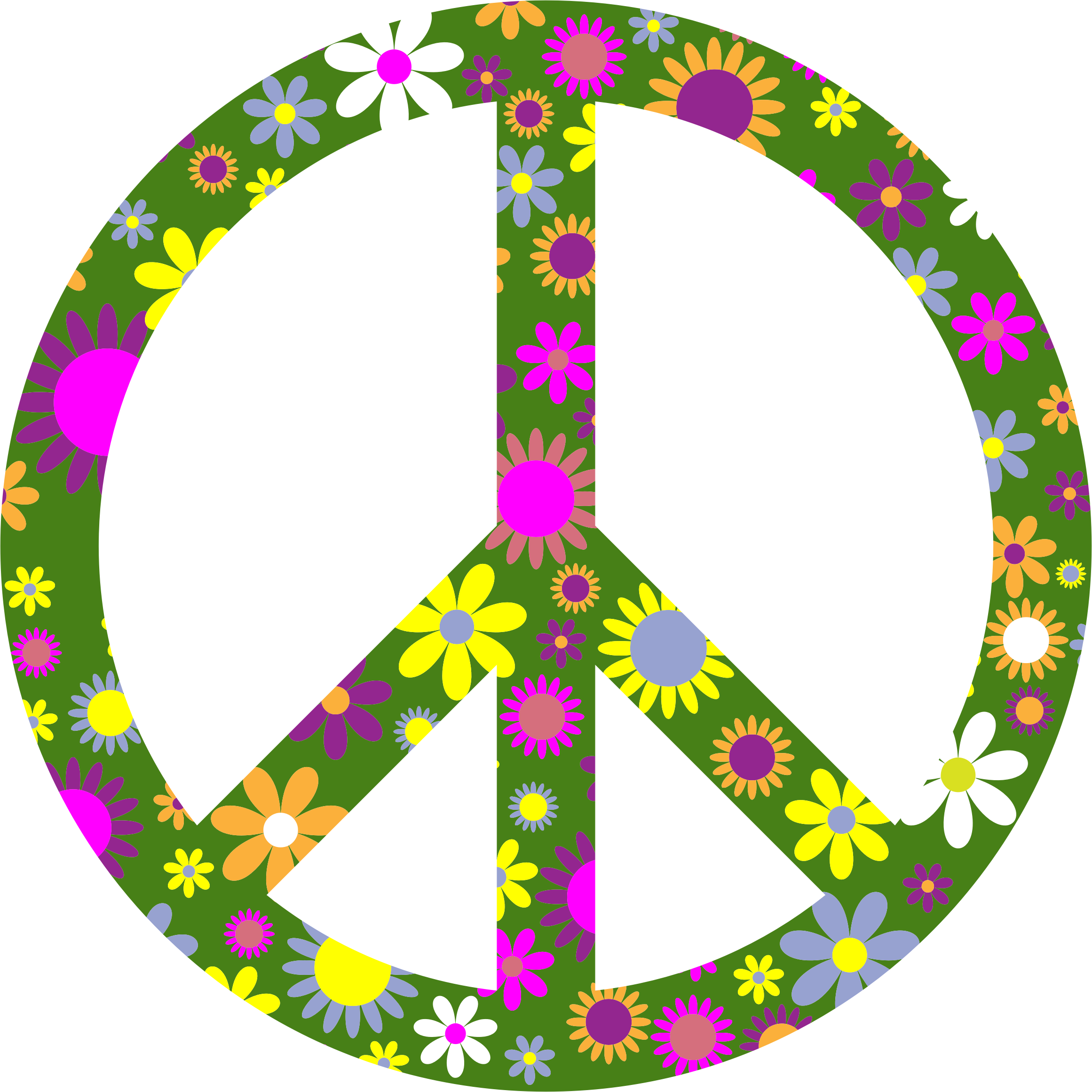 Retro Floral Peace Sign by GDJ