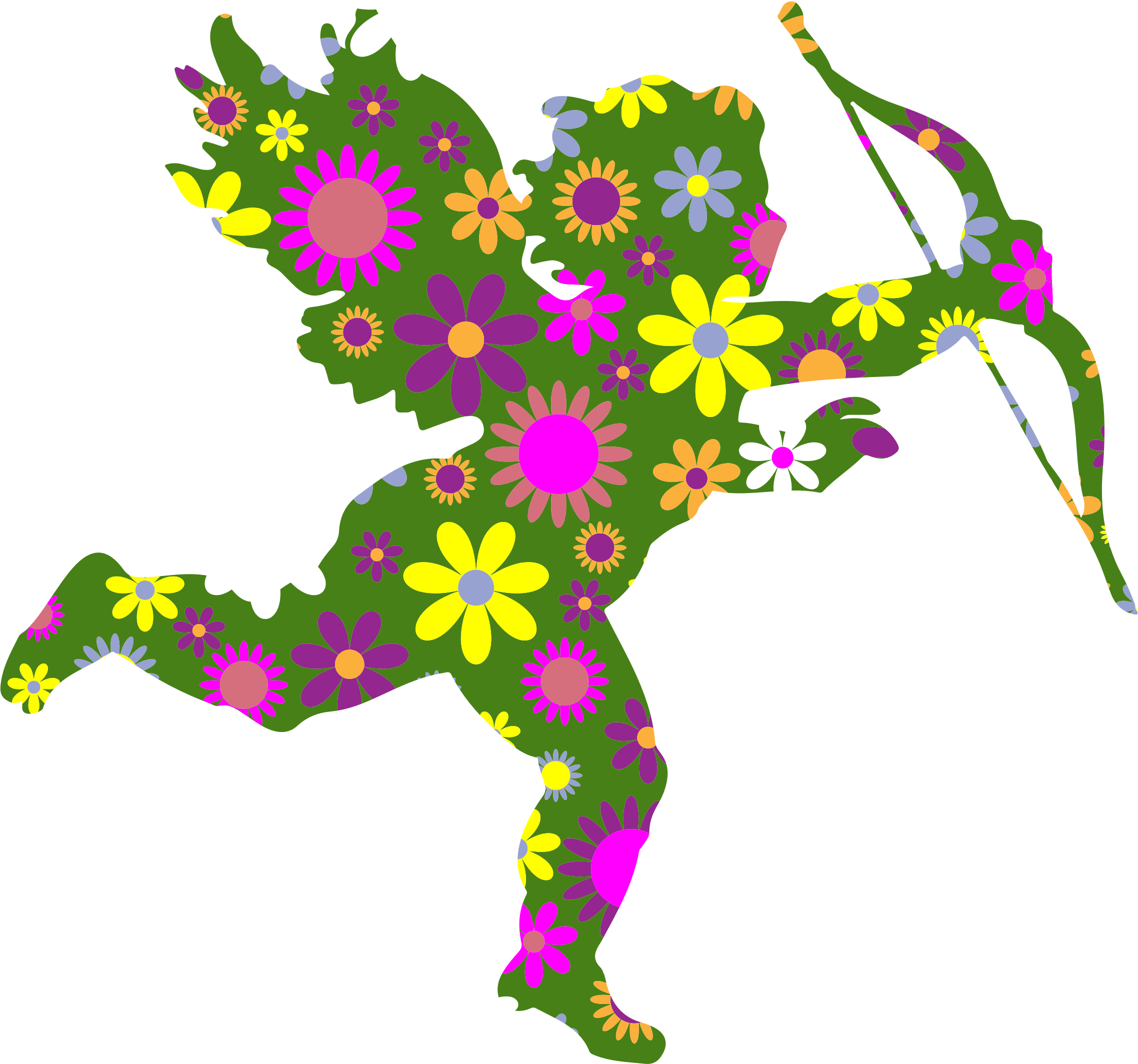 Retro Floral Cupid by GDJ