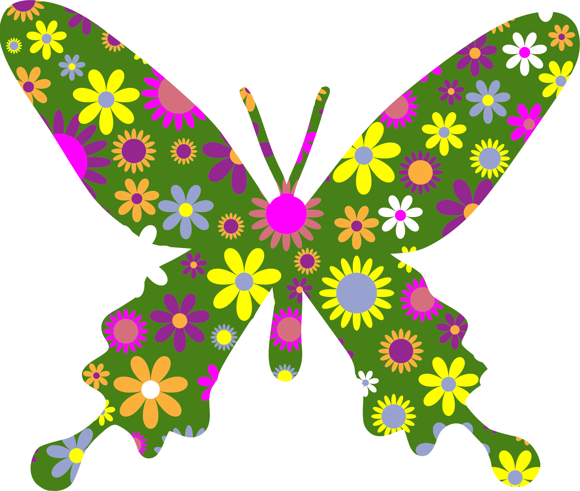 Retro Floral Butterfly 4 by GDJ