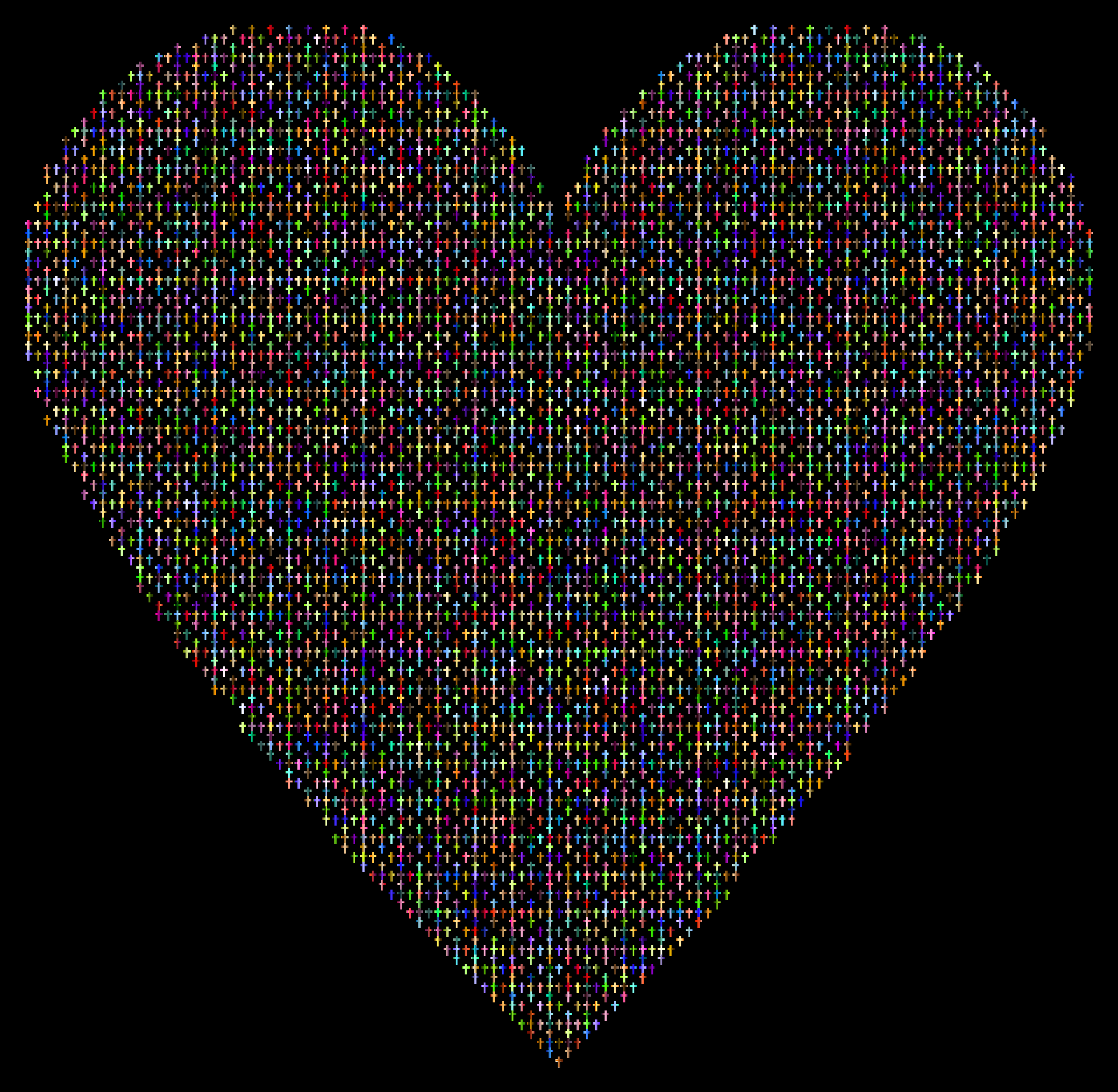 Chromatic Cross Heart With Background by GDJ