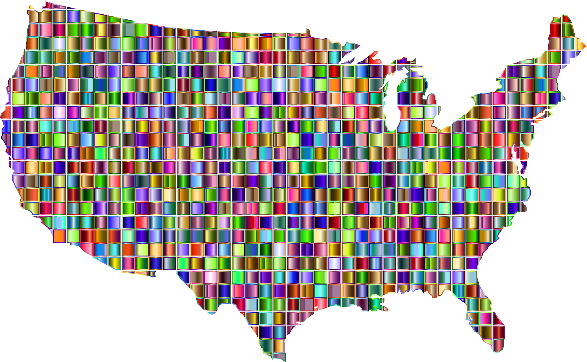 Clipart - Chromatic Mosaic United States Map