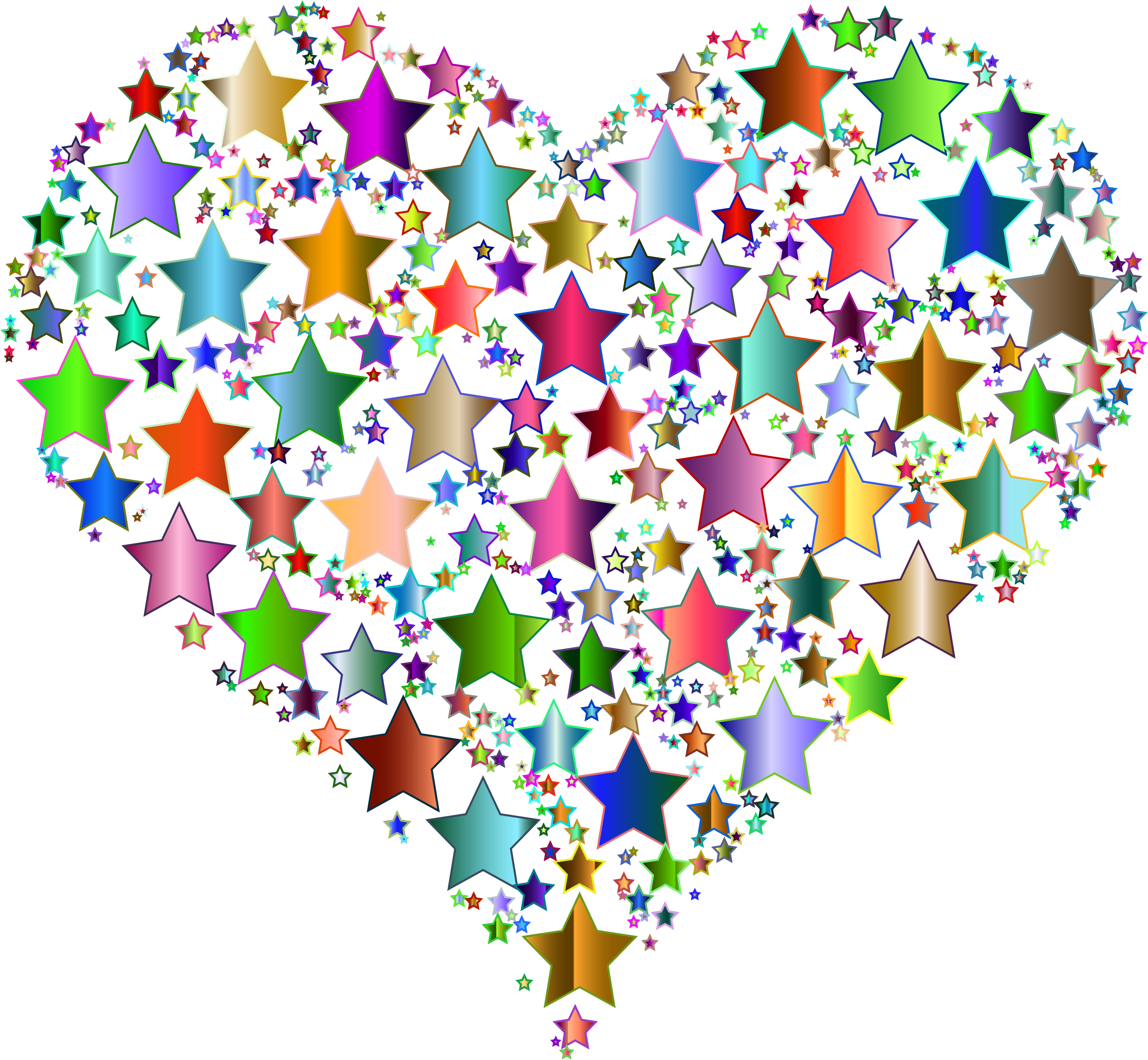 Colorful Heart Stars 9 No Background by GDJ