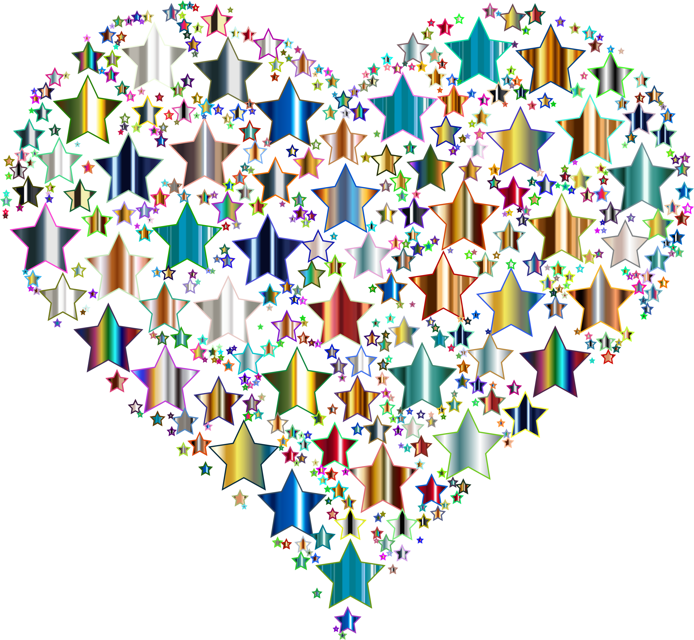 Colorful Heart Stars 10 No Background by GDJ