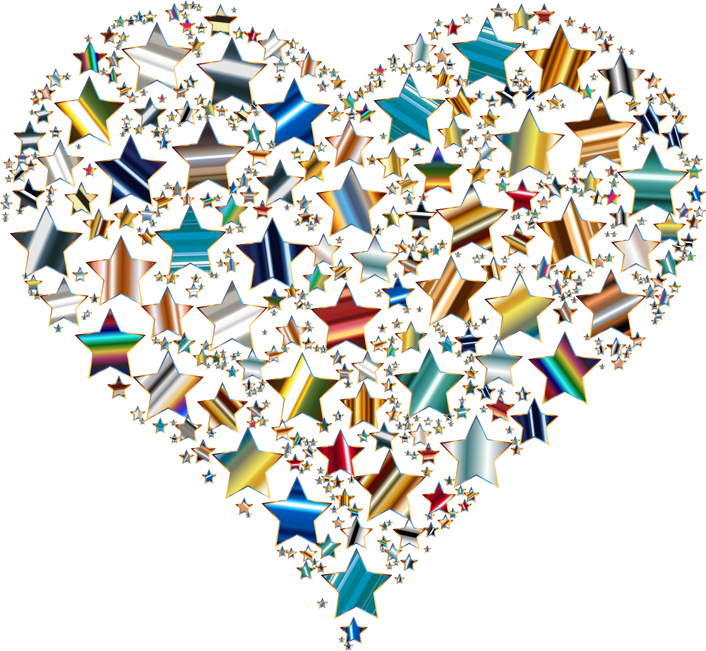 Colorful Heart Stars 10 Variation 3 No Background by GDJ