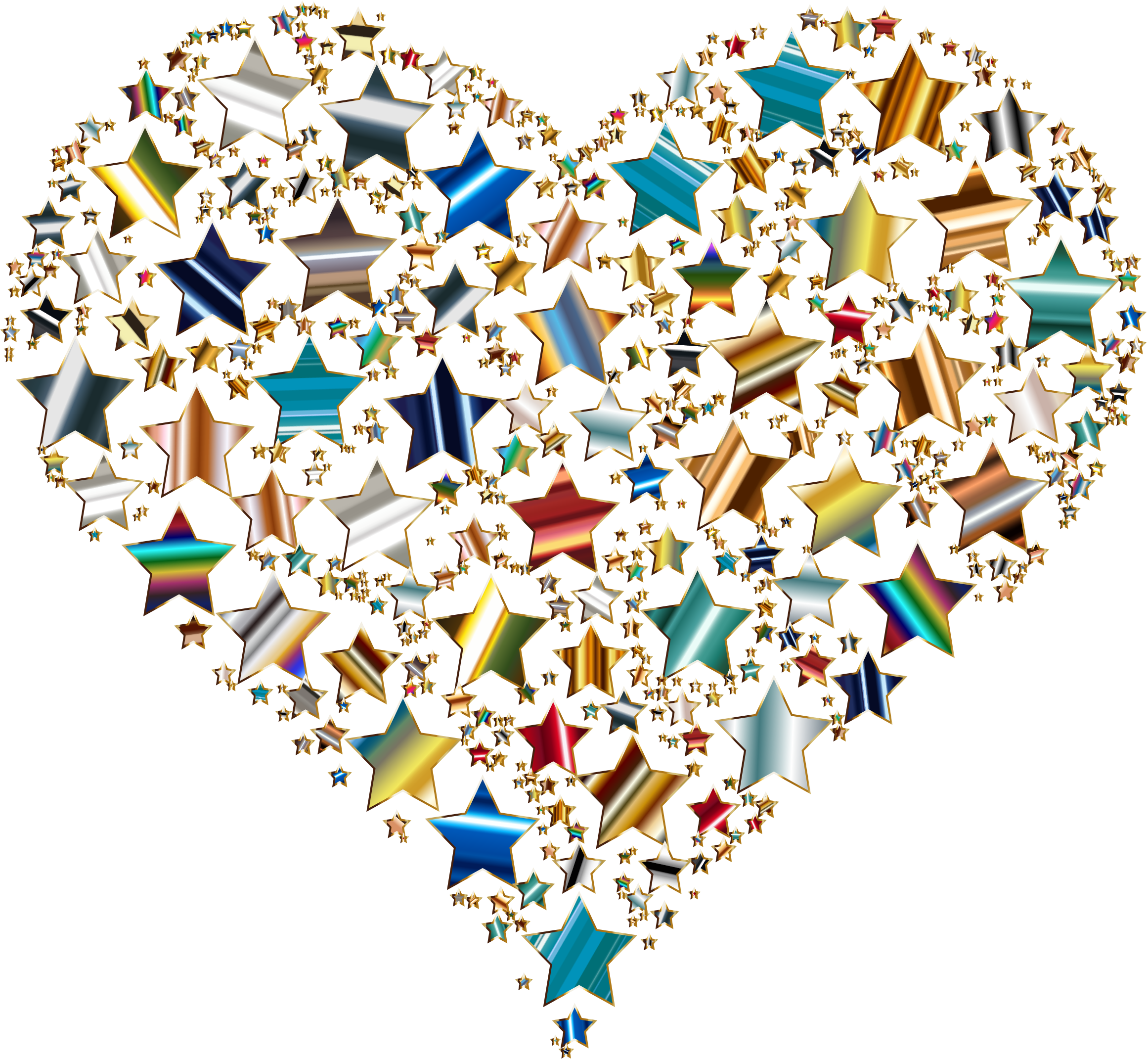 Colorful Heart Stars 10 Variation 4 No Background by GDJ