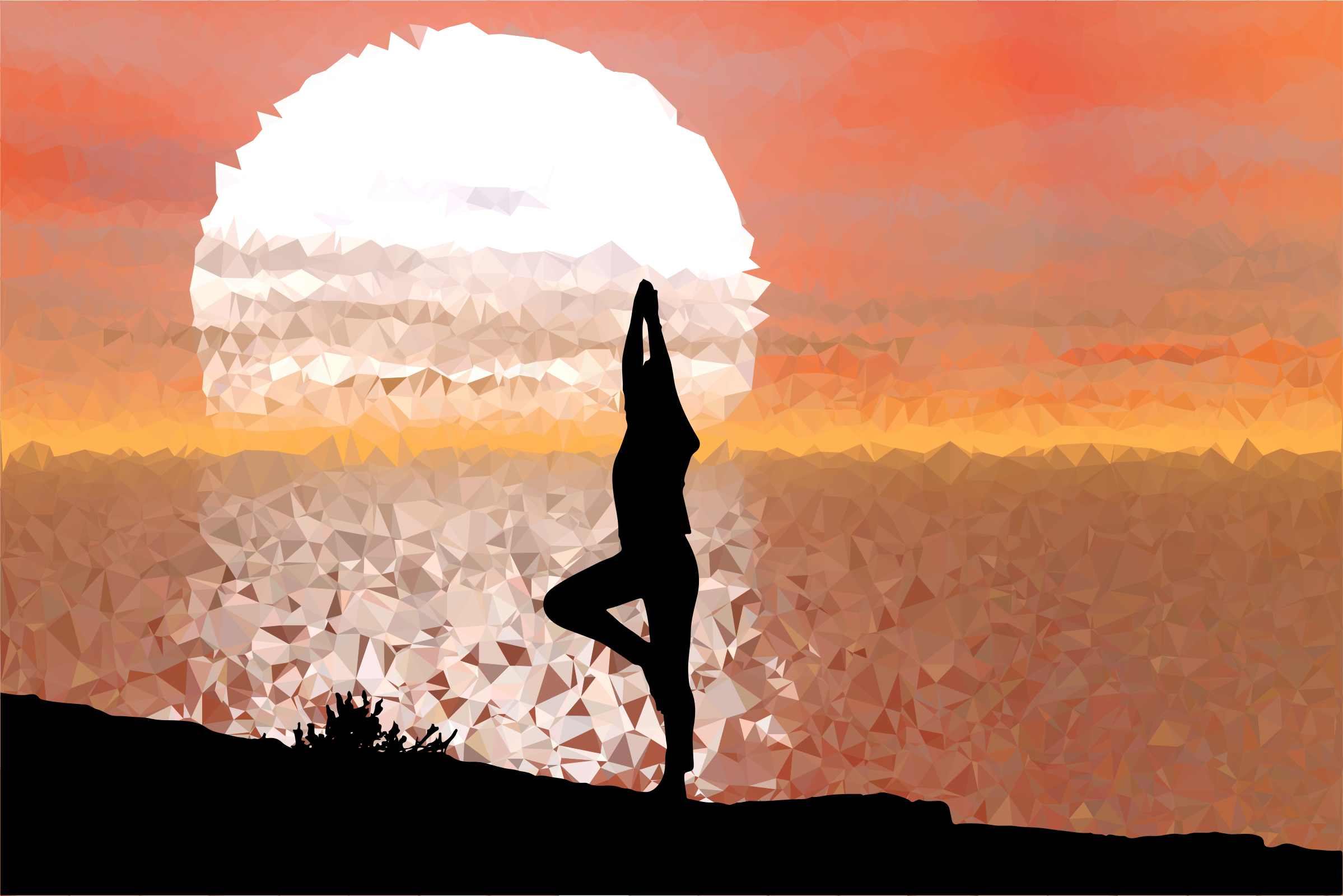 Low Poly Sunset Reflection Female Yoga Pose by GDJ