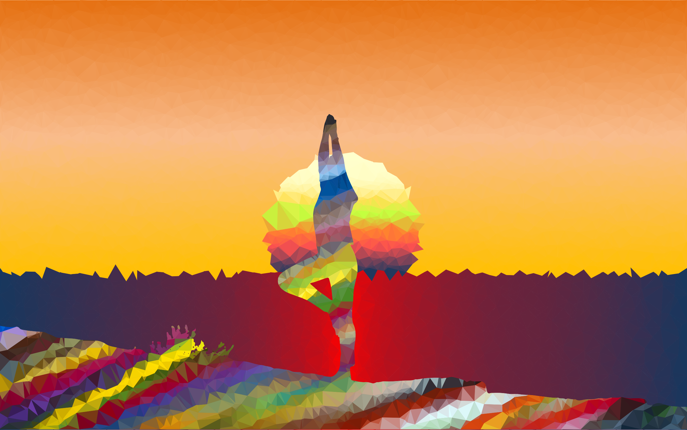 Low Poly Prismatic Streaked Female Yoga Pose Sunset by GDJ