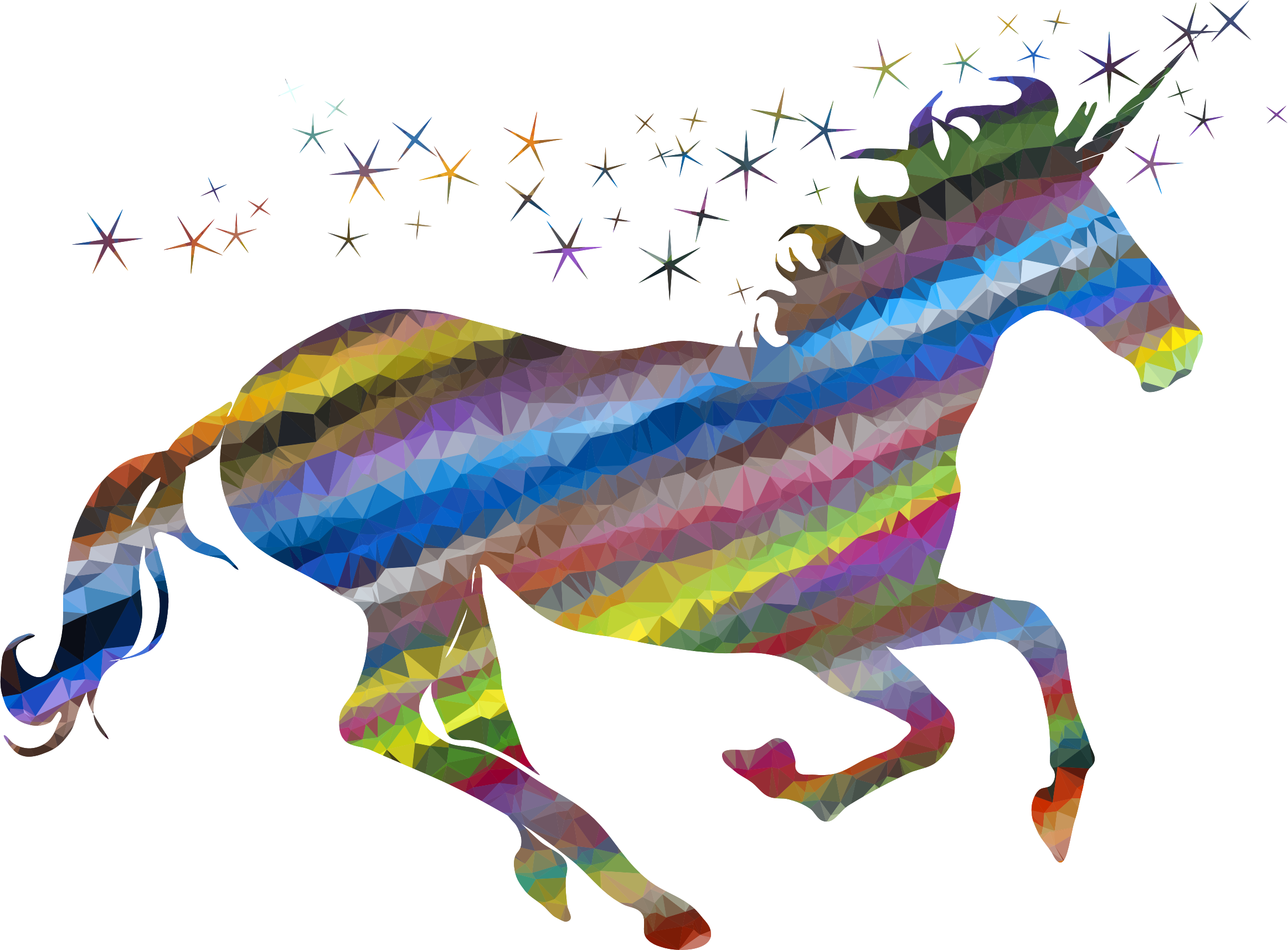 Low Poly Prismatic Streaked Magical Unicorn by GDJ