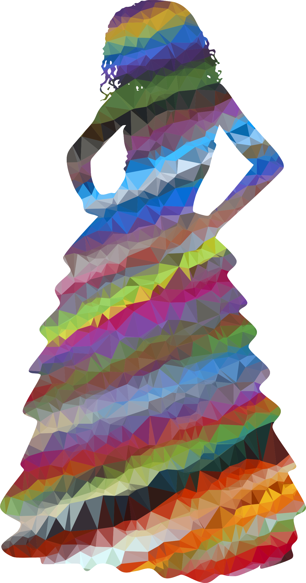 Low Poly Prismatic Streaked Formal Gown Woman by GDJ